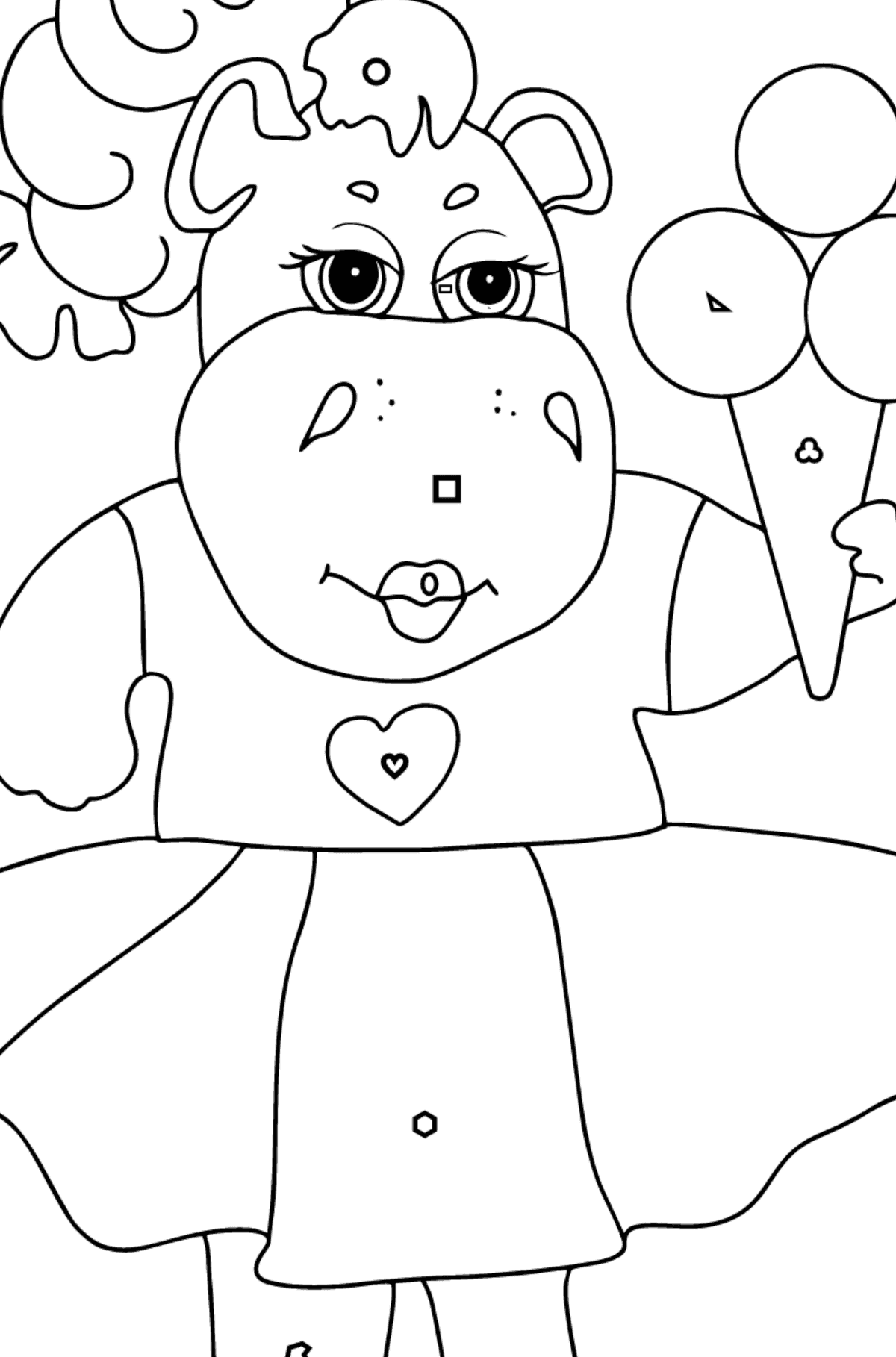 A Hippo in a Fancy Dress is Eating Ice Cream for Kids By Geometric Shapes