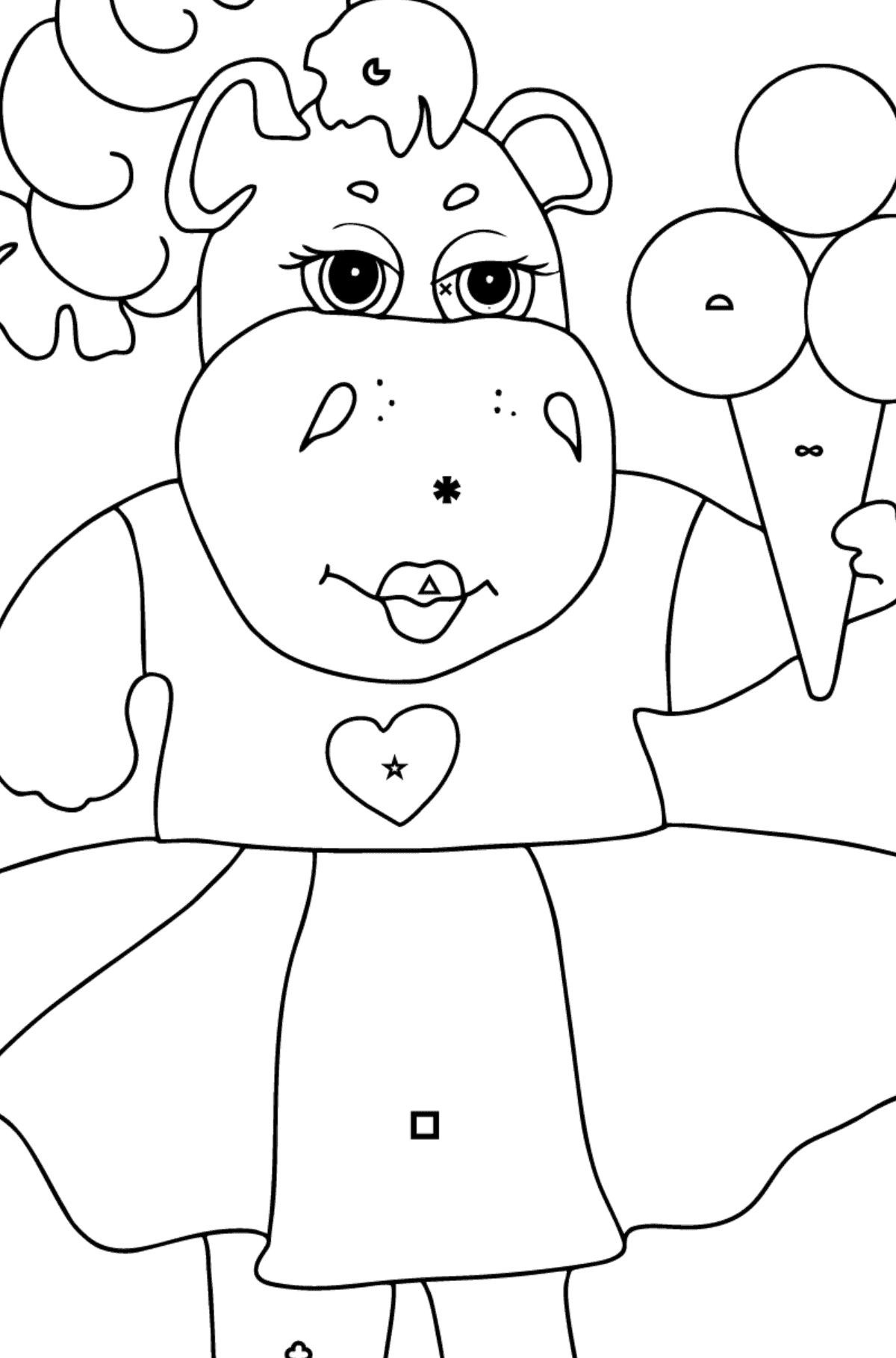A Hippo in a Fancy Dress is Eating Ice Cream for Kids By Symbols And Geometry