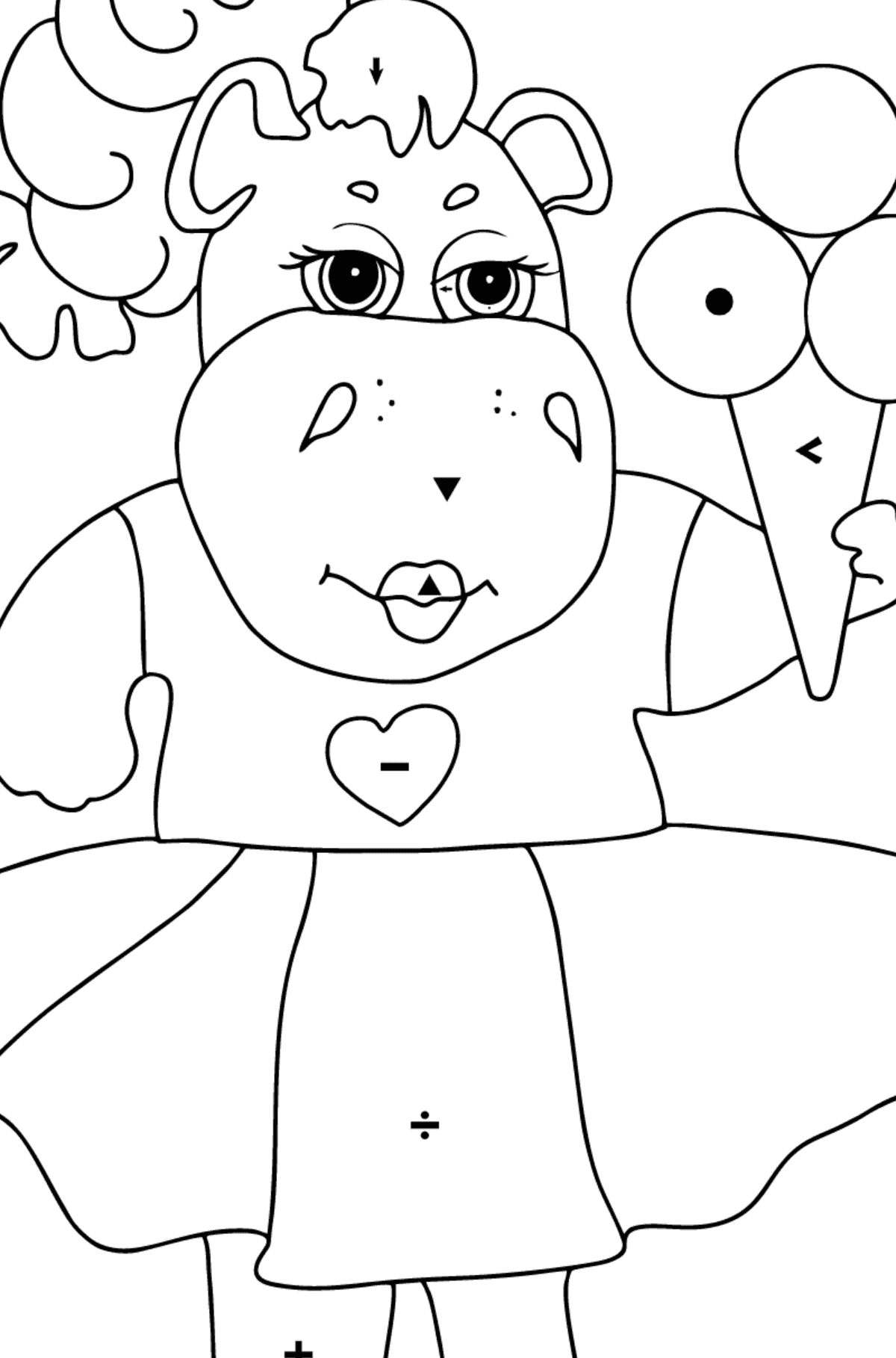 A Hippo in a Fancy Dress is Eating Ice Cream for Kids By Symbols