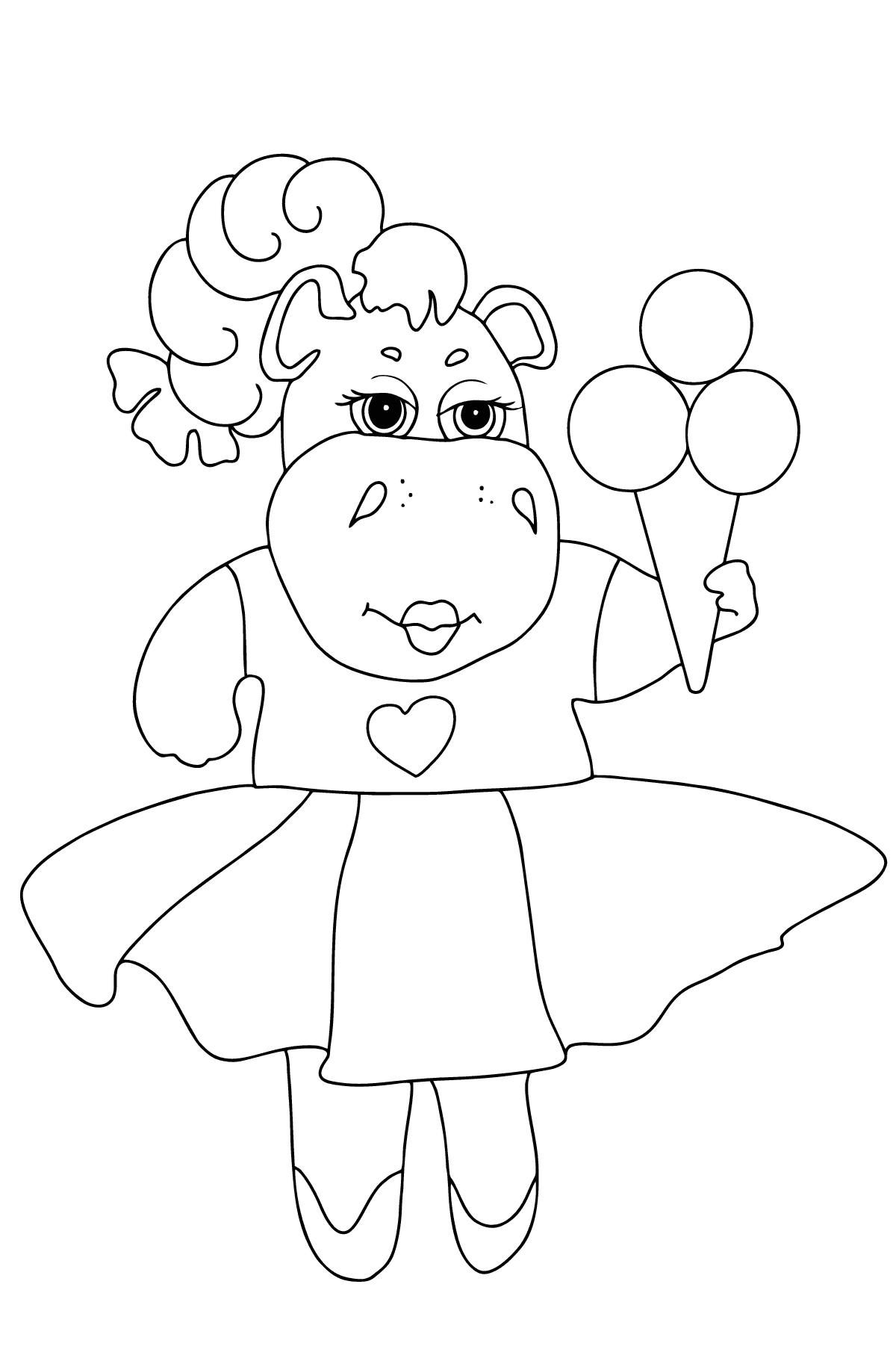 A Hippo in a Fancy Dress is Eating Ice Cream for Kids