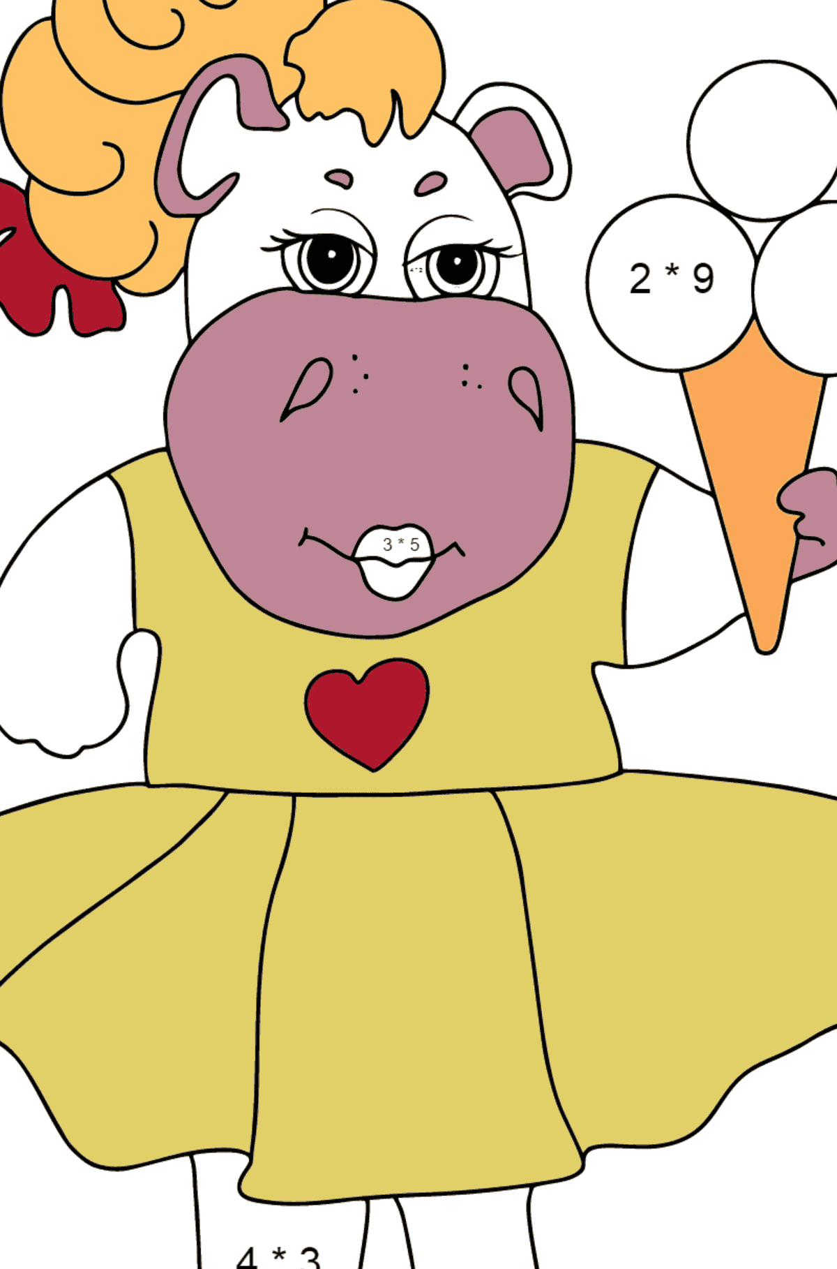A Hippo in a Fancy Dress is Eating Ice Cream for Kids By Multiplication