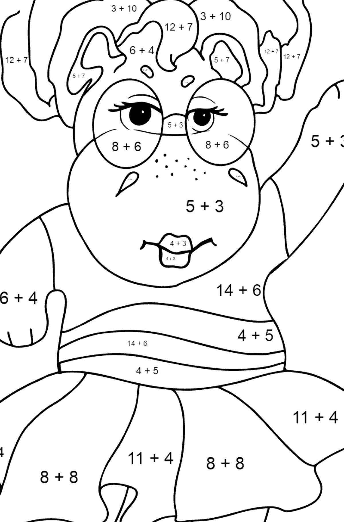 Coloring Page - A Hippo in Sunglasses for Kids  - Color by Number Addition