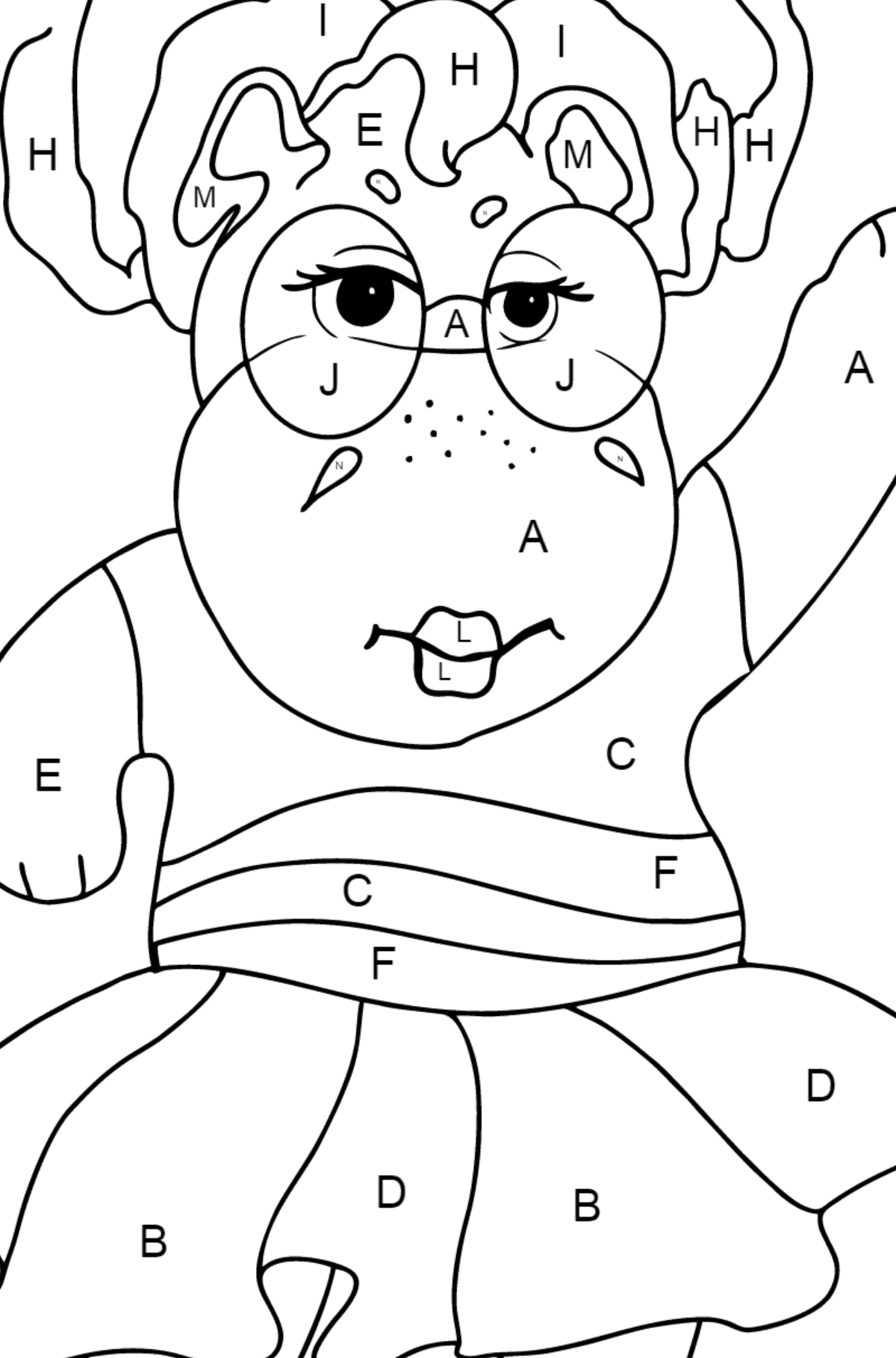 Coloring Page - A Hippo in Sunglasses for Children  - Color by Letters