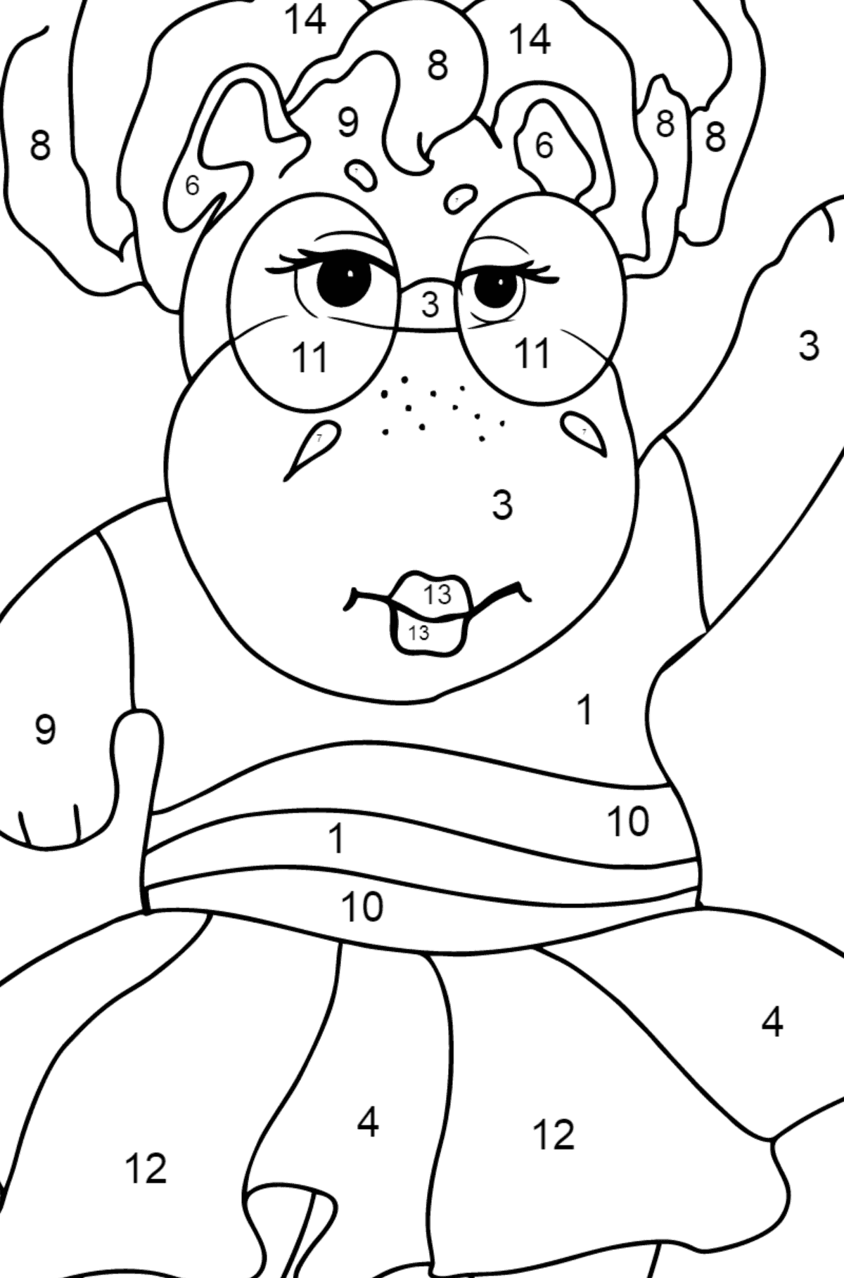 Coloring Page - A Hippo in Sunglasses for Children  - Color by Number