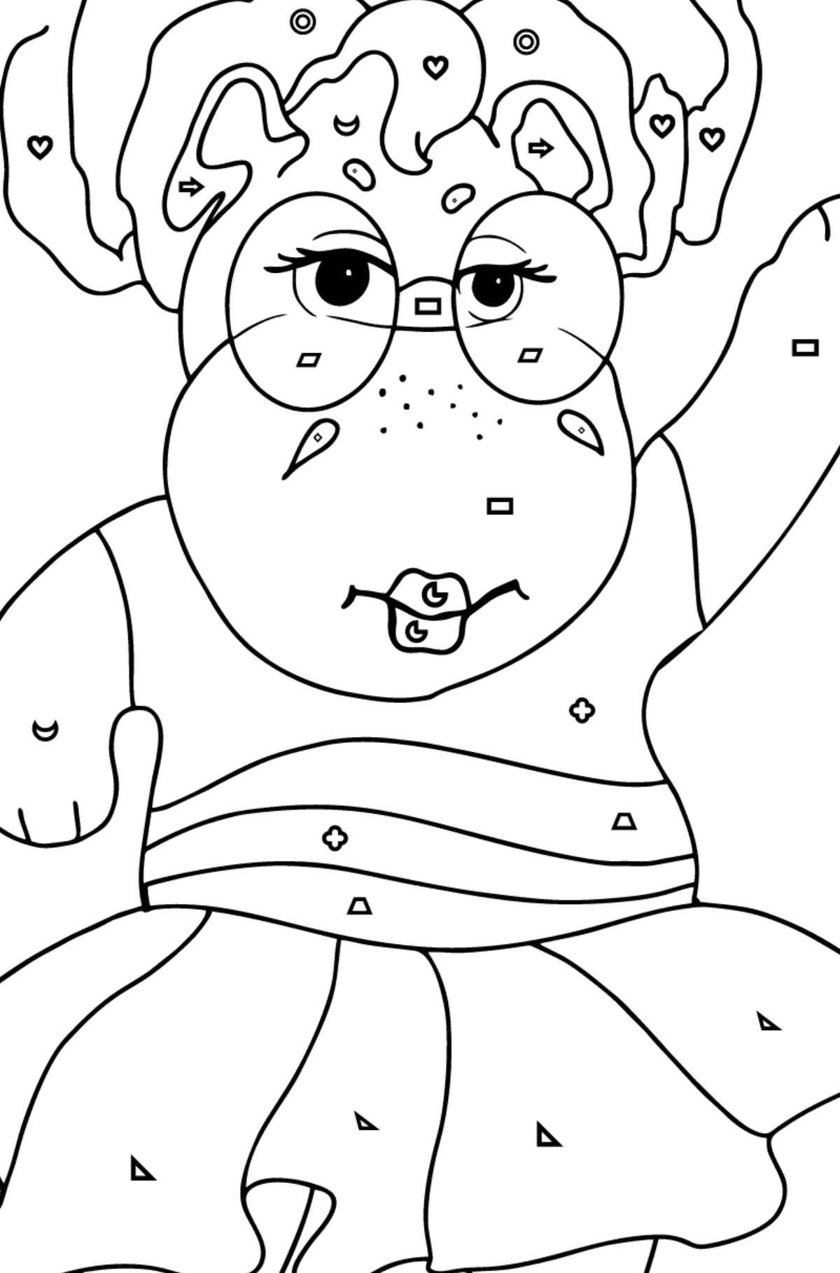 Coloring Page - A Hippo in Sunglasses for Children  - Color by Geometric Shapes