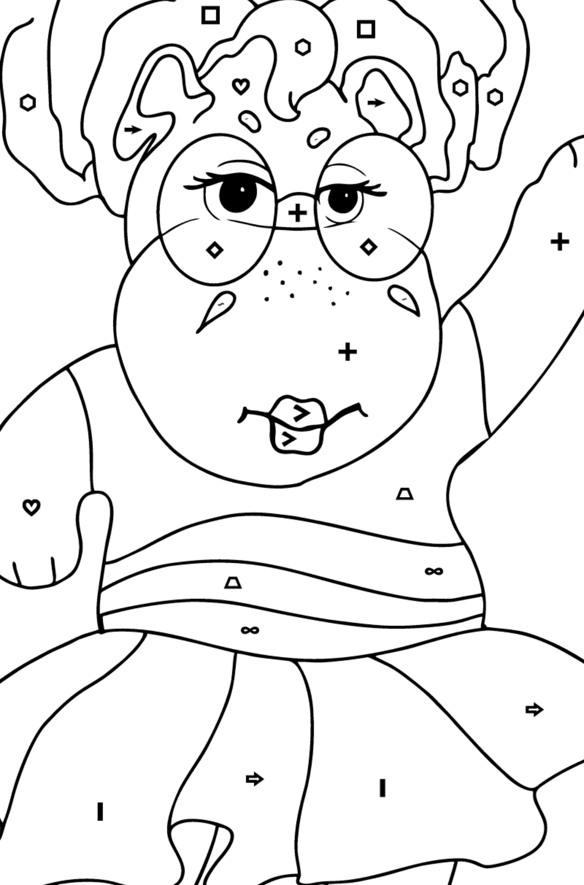 Coloring Page - A Hippo in Sunglasses for Children  - Color by Symbols and Geometric Shapes