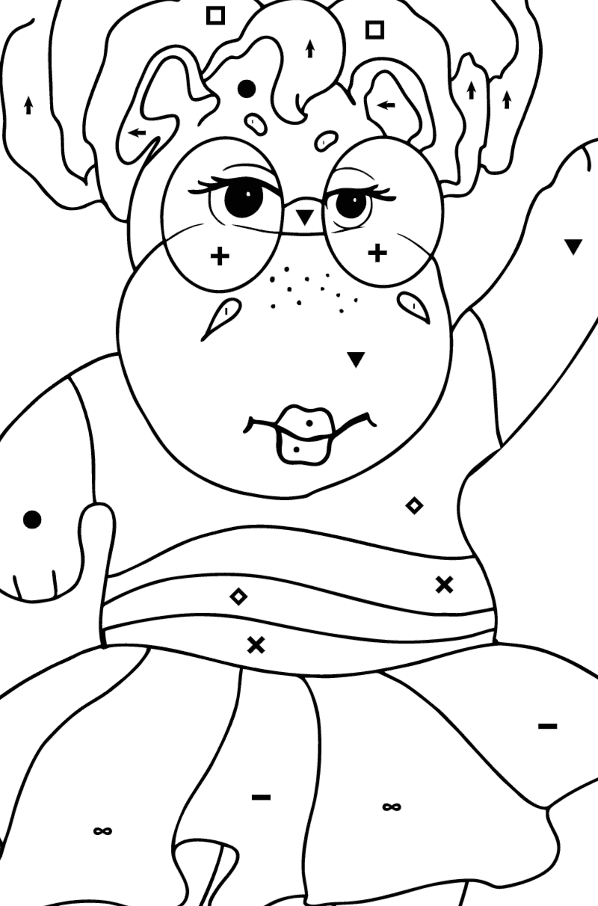 Coloring Page - A Hippo in Sunglasses for Children  - Color by Special Symbols