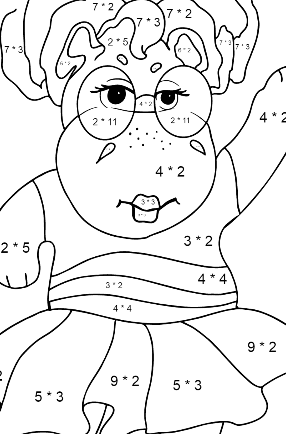 Coloring Page - A Hippo in Sunglasses for Children  - Color by Number Multiplication