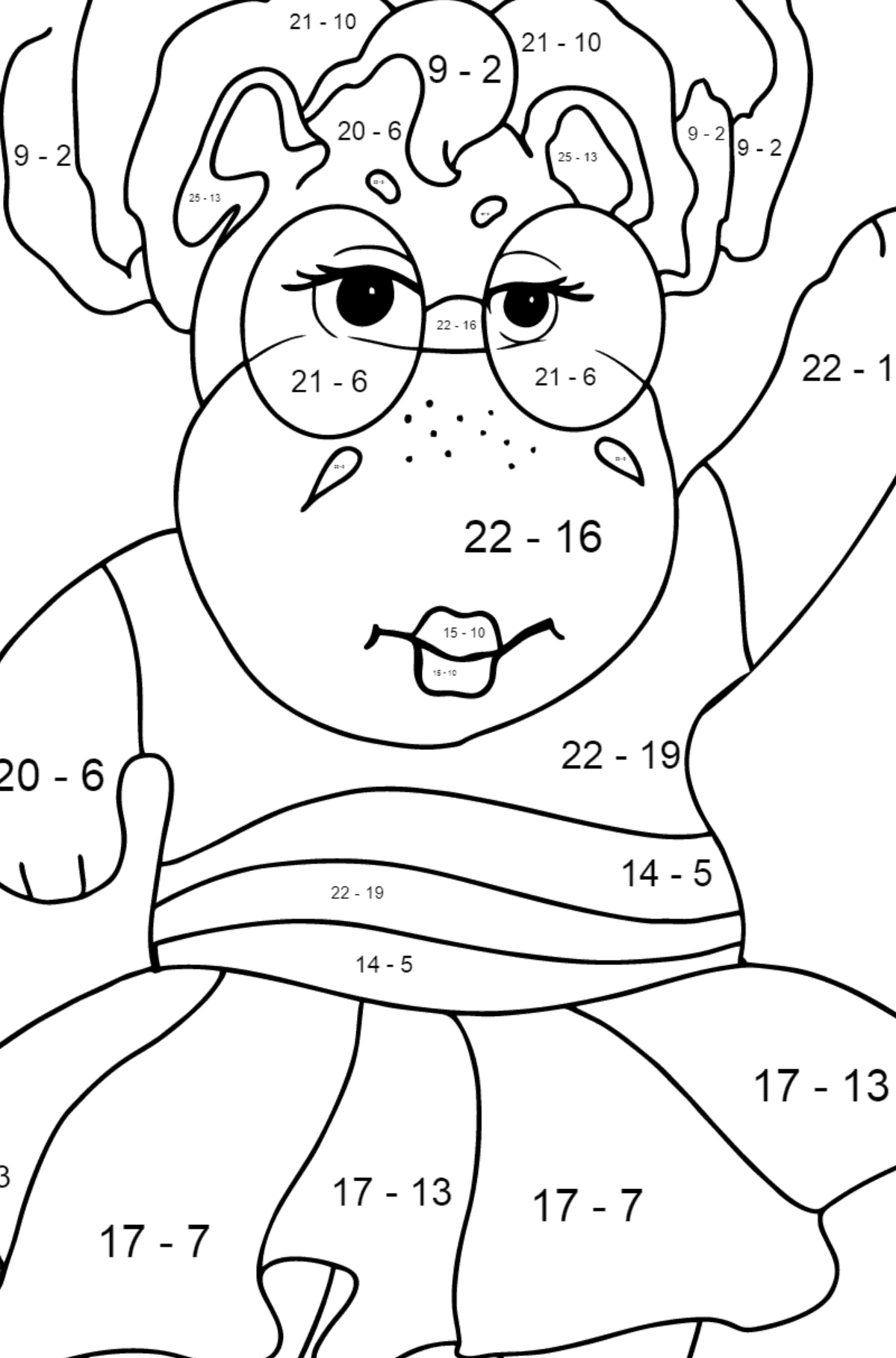 Coloring Page - A Hippo in Sunglasses for Kids  - Color by Number Substraction