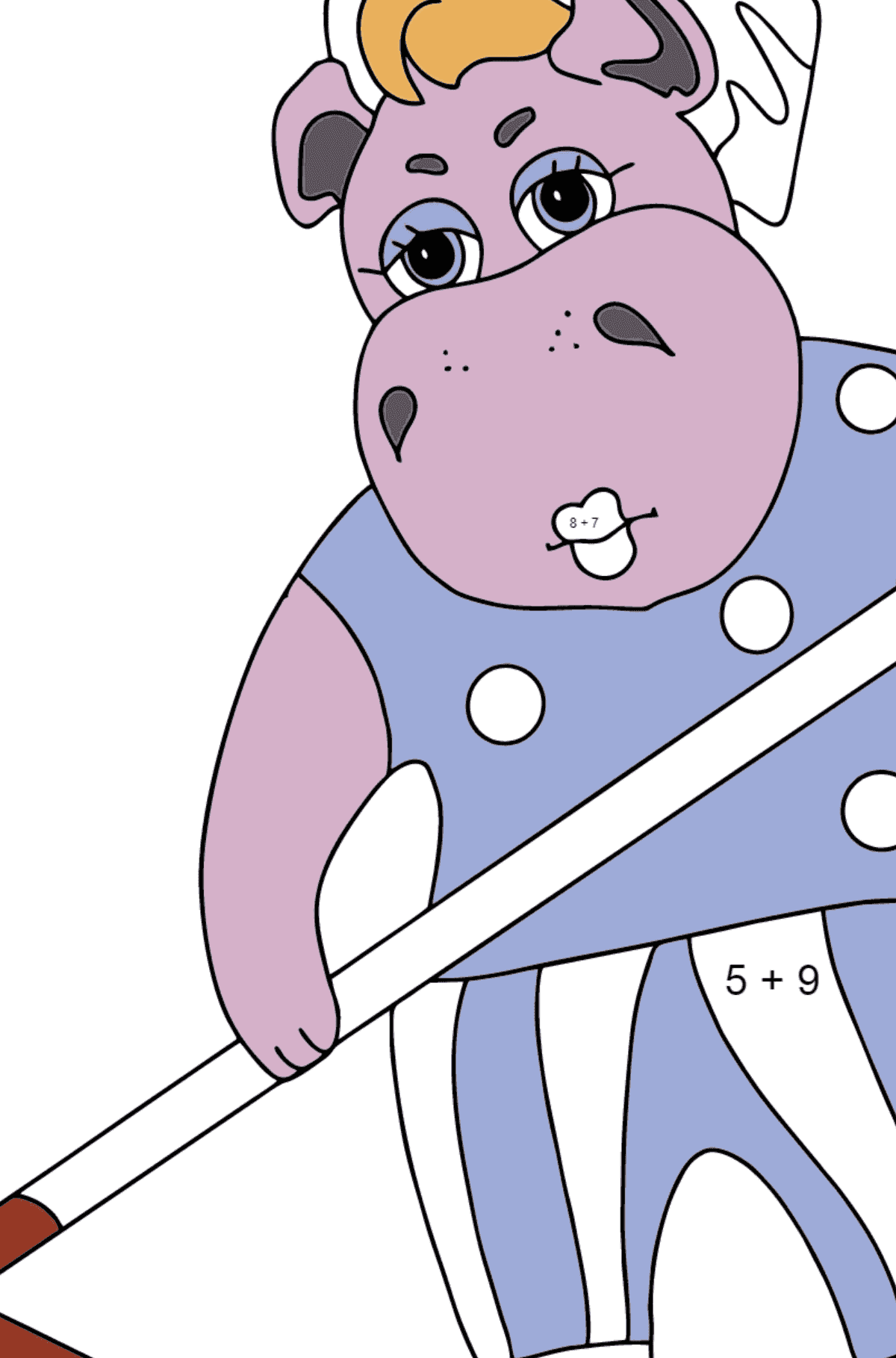 Coloring Page - A Hippo is Collecting Autumn Leaves for Kids  - Color by Number Addition