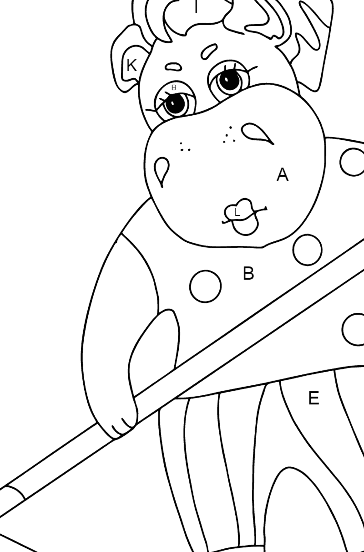 Coloring Page - A Hippo is Collecting Autumn Leaves for Children  - Color by Letters