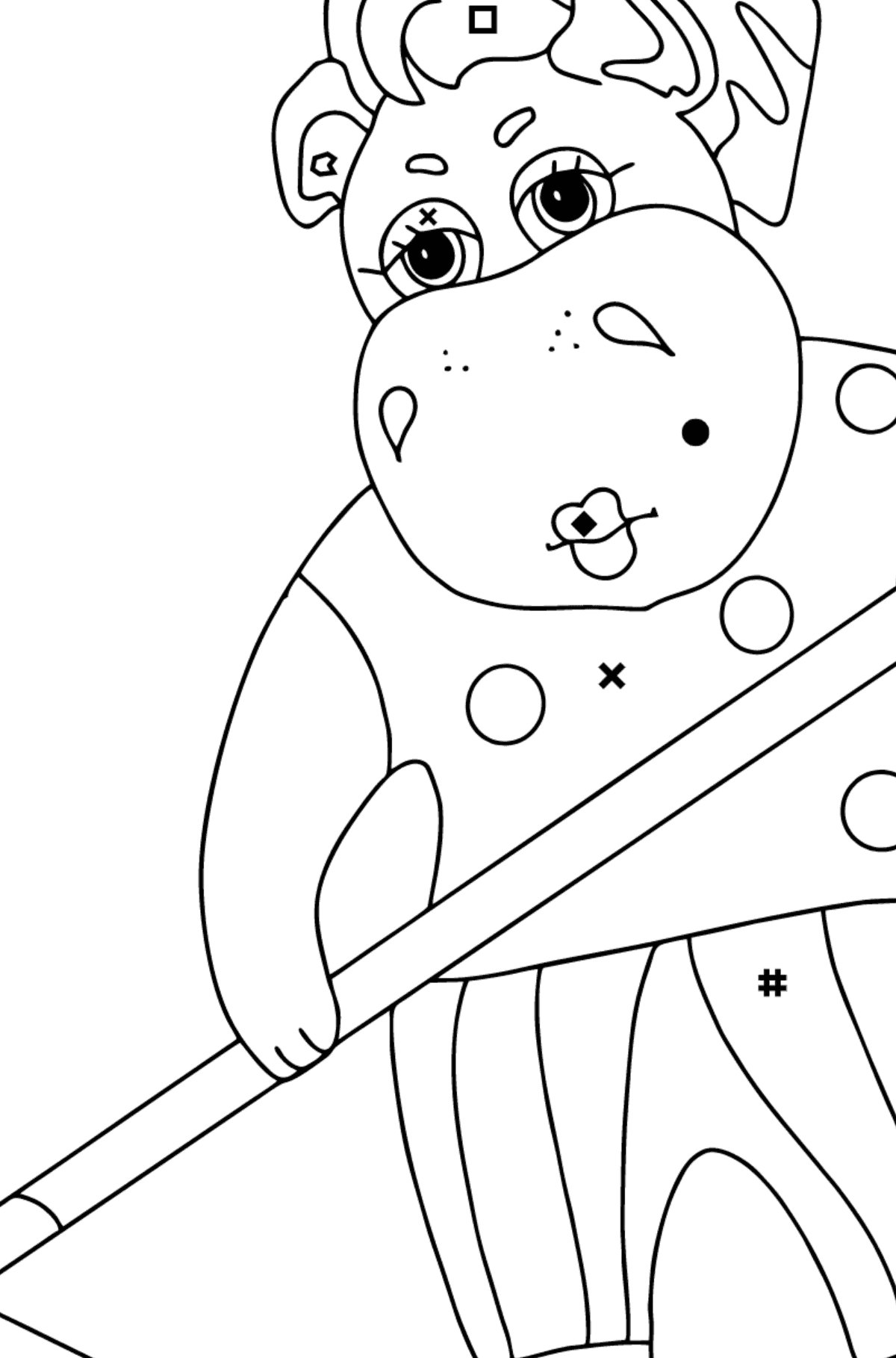 Coloring Page - A Hippo is Collecting Autumn Leaves for Kids  - Color by Symbols and Geometric Shapes