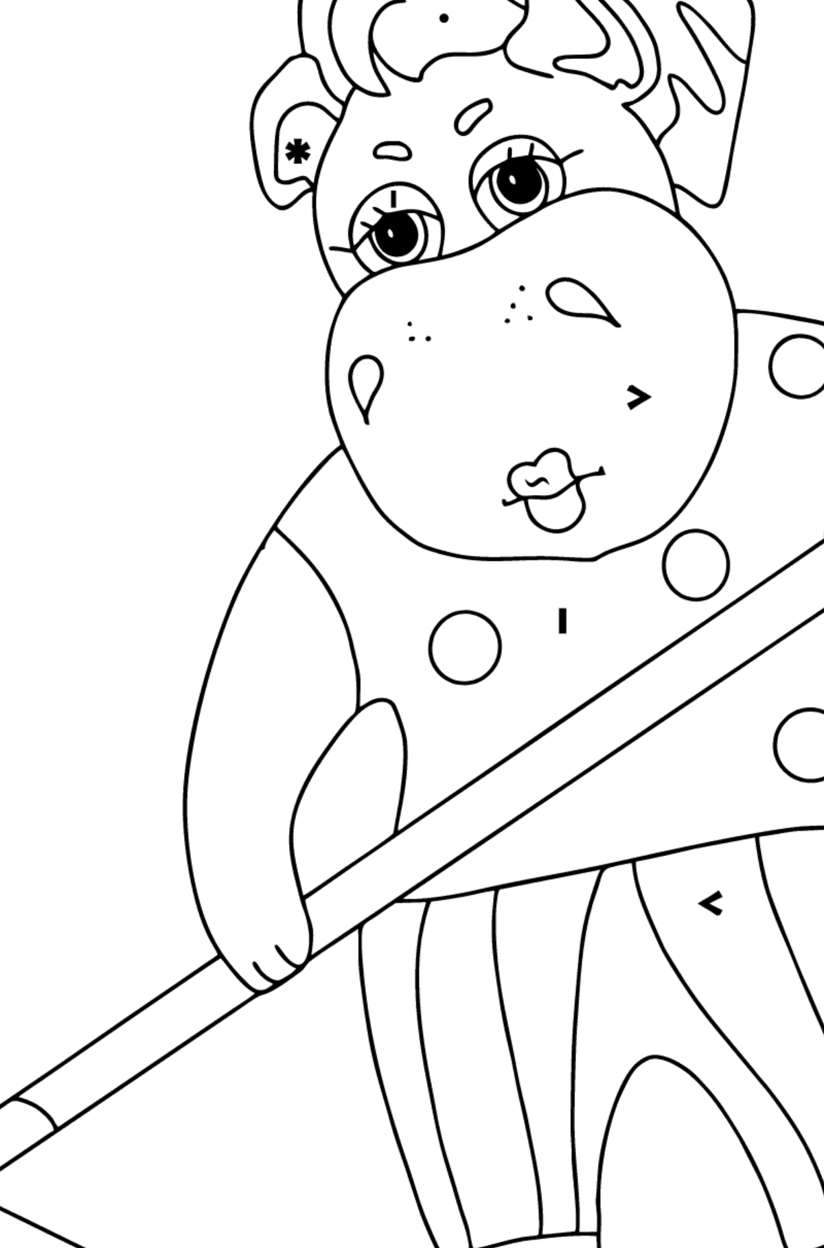 Coloring Page - A Hippo is Collecting Autumn Leaves for Children  - Color by Special Symbols