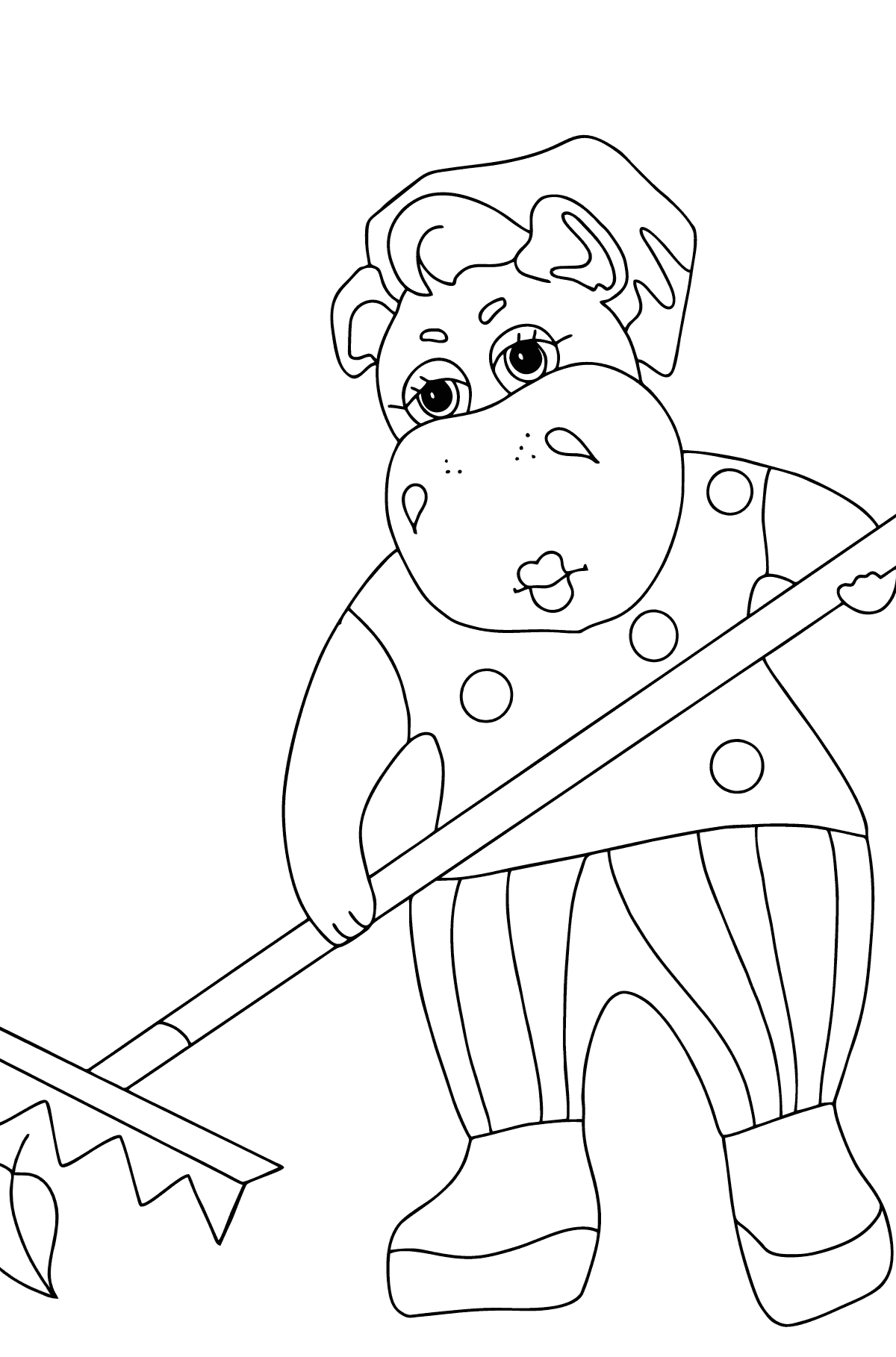 Coloring Page - A Hippo is Collecting Autumn Leaves for Children