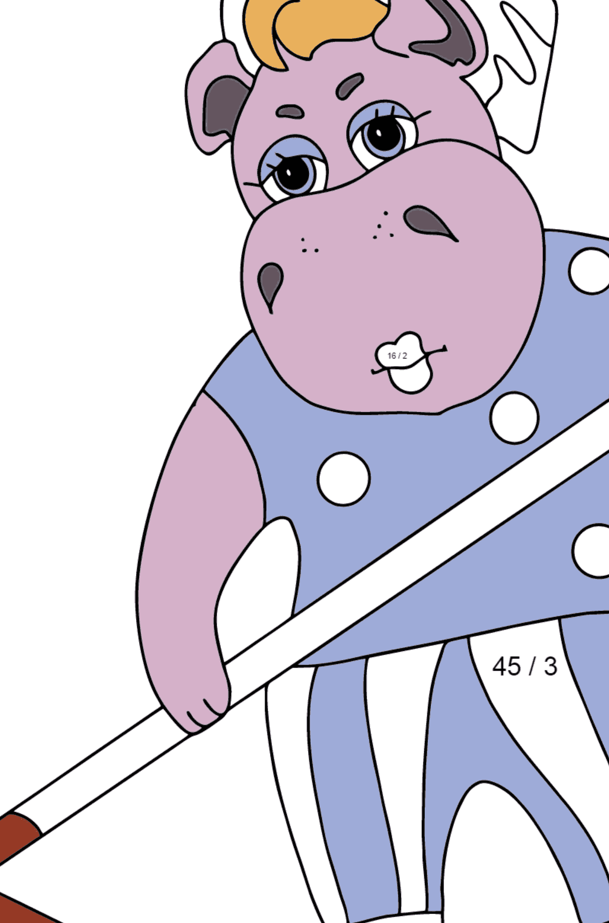 Coloring Page - A Hippo is Collecting Autumn Leaves for Kids  - Color by Number Division