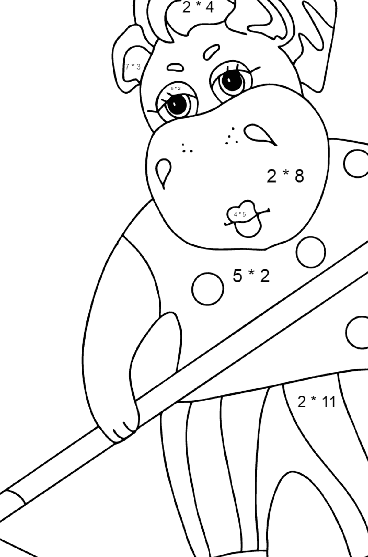 Coloring Page - A Hippo is Collecting Autumn Leaves for Kids  - Color by Number Multiplication