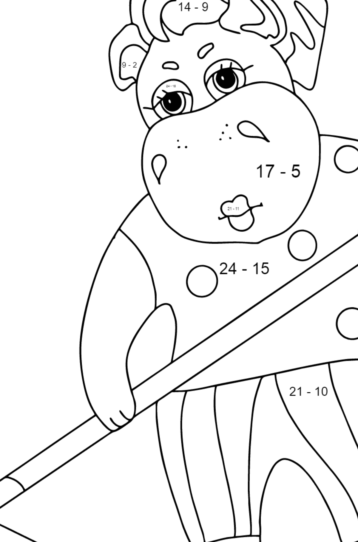 Coloring Page - A Hippo is Collecting Autumn Leaves for Kids  - Color by Number Substraction