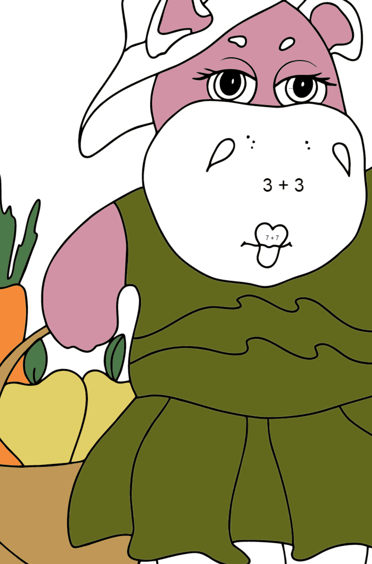 Coloring Page - A Hippo with a Basket of Carrots and Apples - Check it Out for Kids  - Color by Number Addition