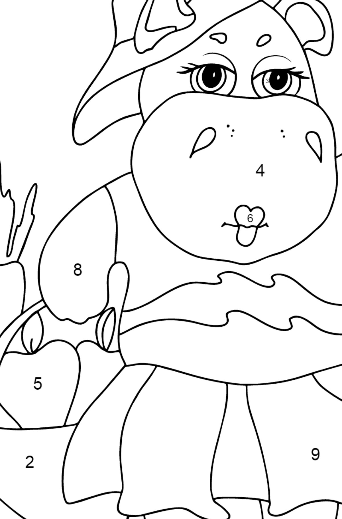 Coloring Page - A Hippo with a Basket of Carrots and Apples - Check it Out for Kids  - Color by Number