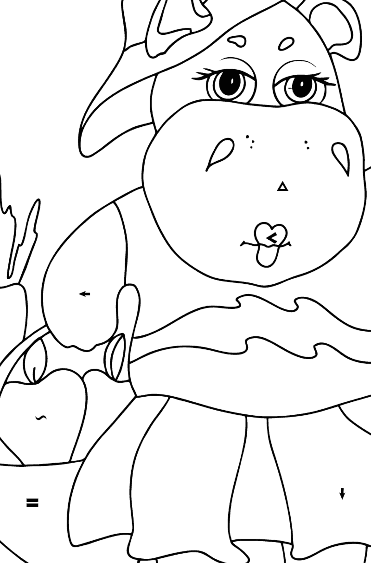 Coloring Page - A Hippo with a Basket of Carrots and Apples - Check it Out for Children  - Color by Special Symbols