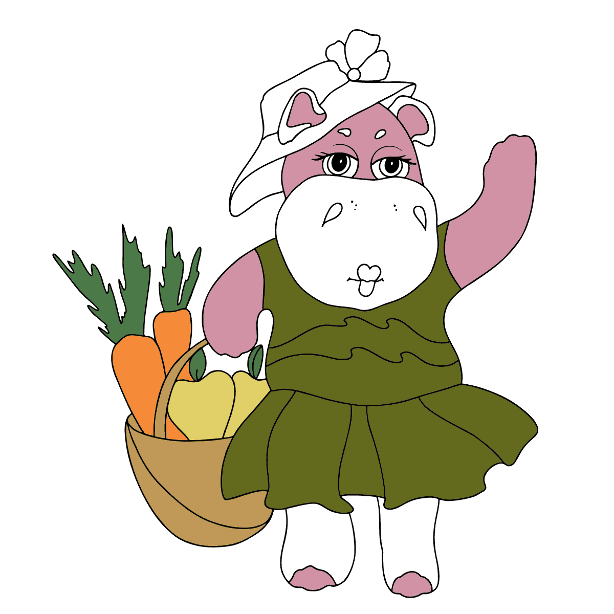 Coloring Page - A Hippo with a Basket of Carrots and Apples - Check it Out