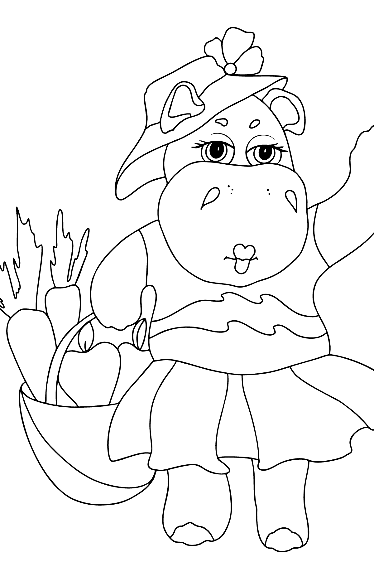 Coloring Page - A Hippo with a Basket of Carrots and Apples - Check it Out for Kids