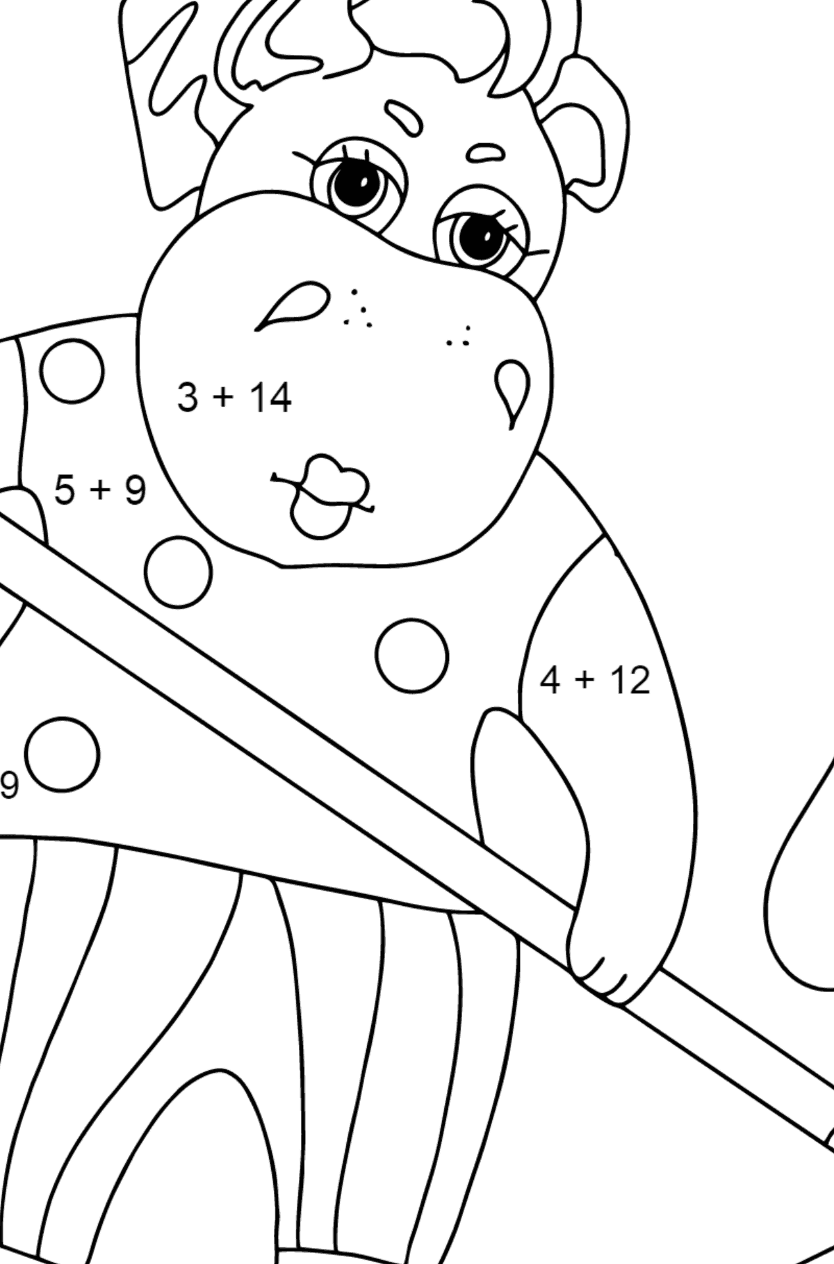 Coloring Page - A Hippo is Collecting Fallen Leaves for Kids  - Color by Number Addition