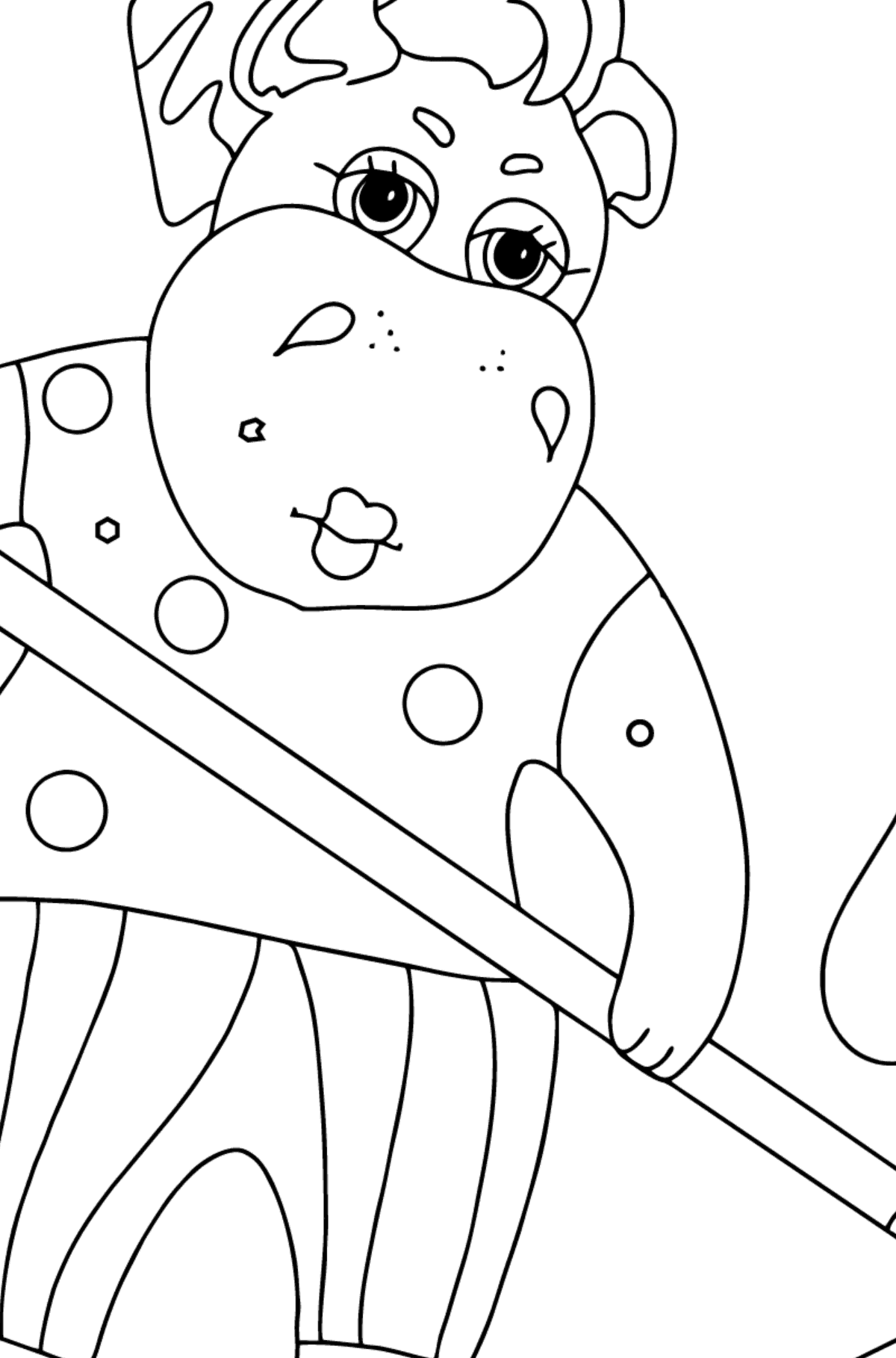 Coloring Page - A Hippo is Collecting Fallen Leaves for Kids  - Color by Geometric Shapes