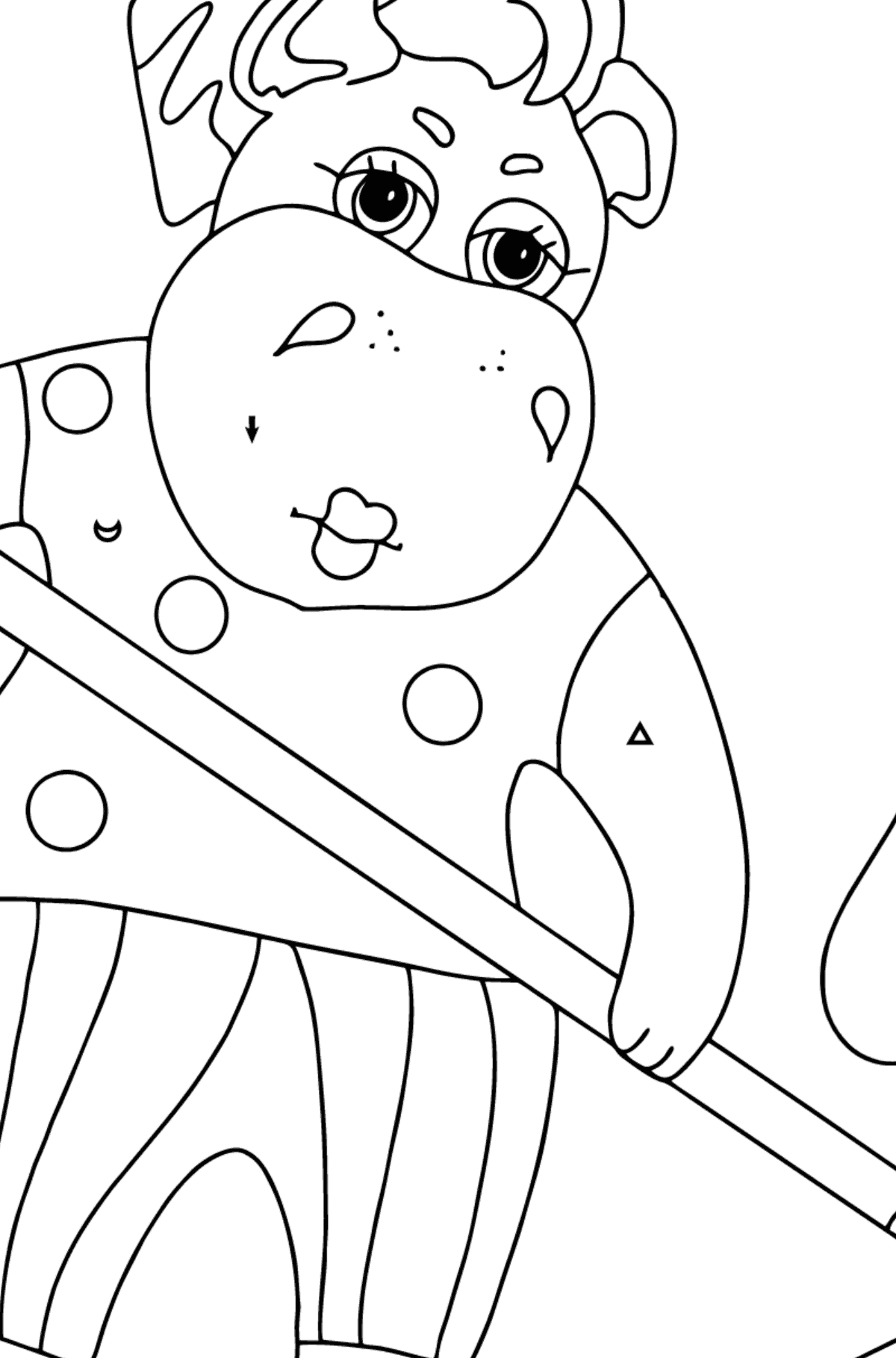 Coloring Page - A Hippo is Collecting Fallen Leaves for Children  - Color by Symbols and Geometric Shapes