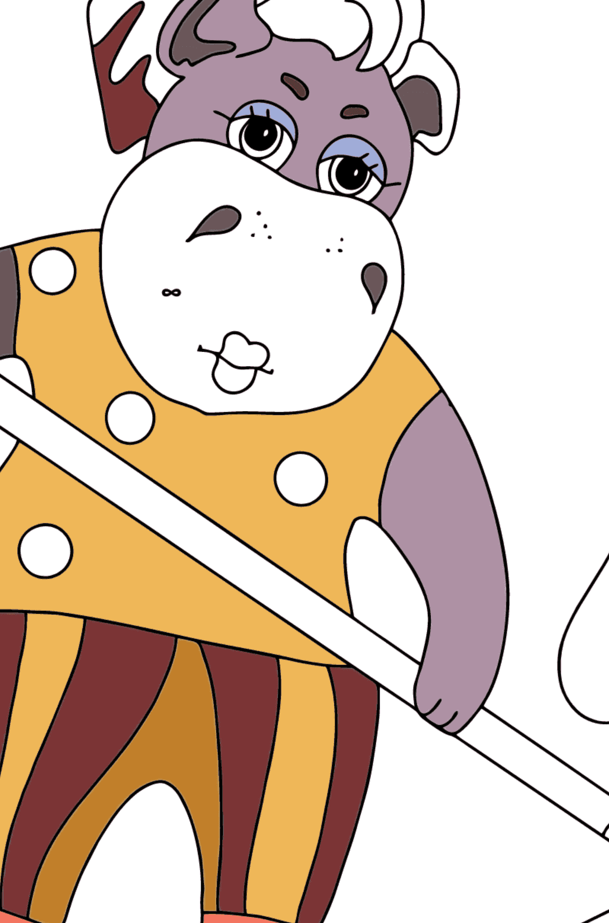 Coloring Page - A Hippo is Collecting Fallen Leaves for Children  - Color by Special Symbols