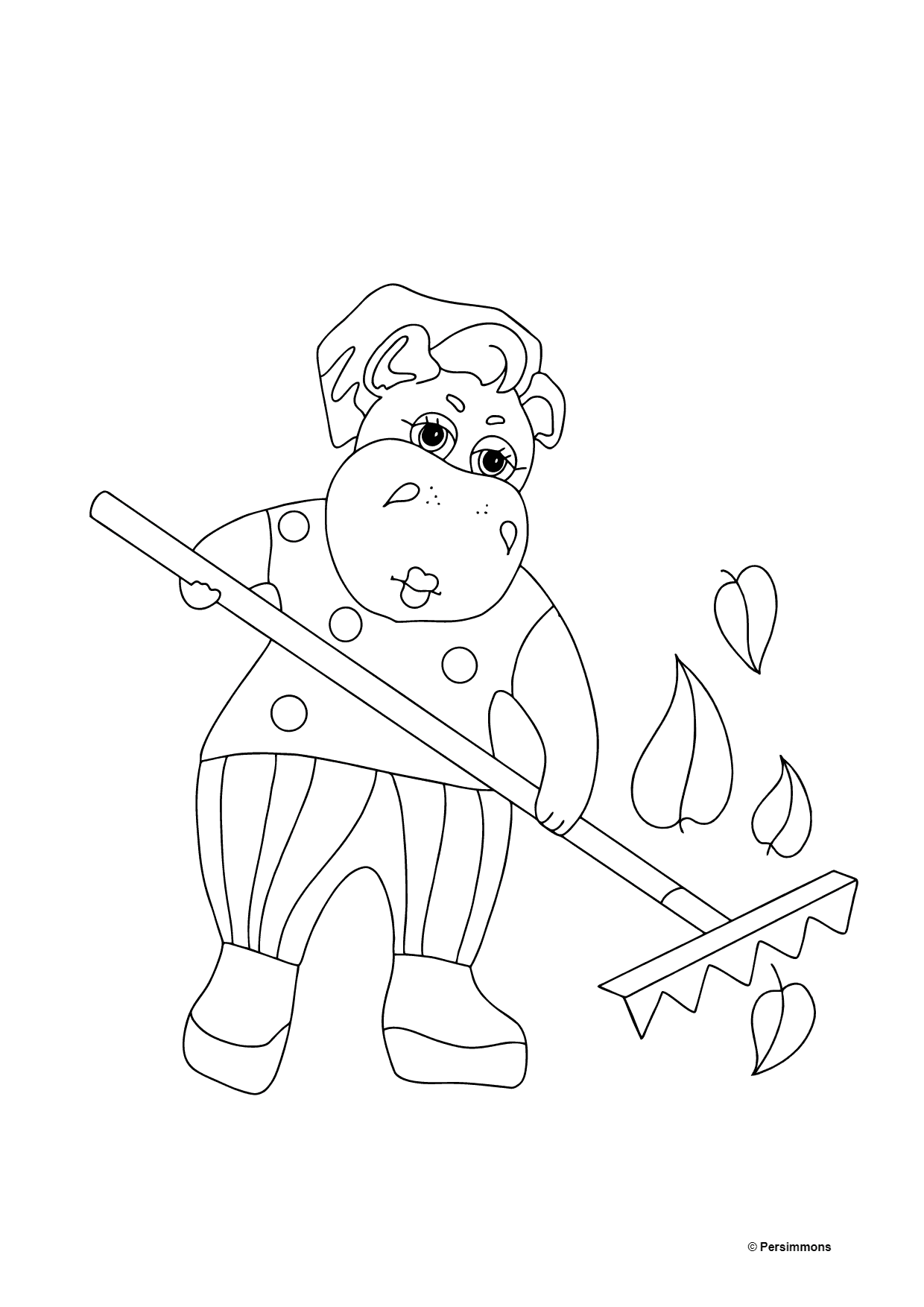 Coloring Page - A Hippo is Collecting Fallen Leaves for Kids