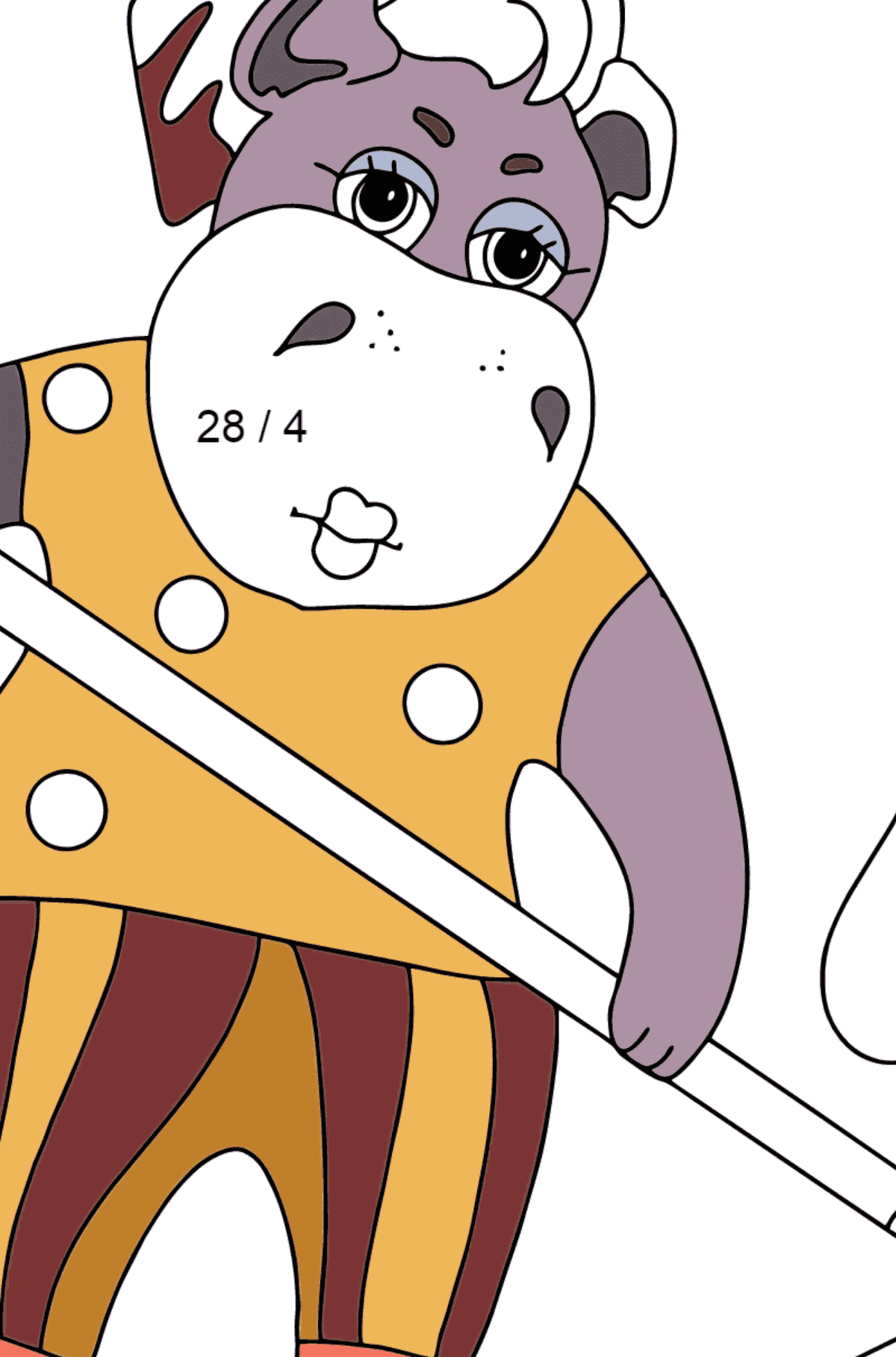 Coloring Page - A Hippo is Collecting Fallen Leaves for Children  - Color by Number Division