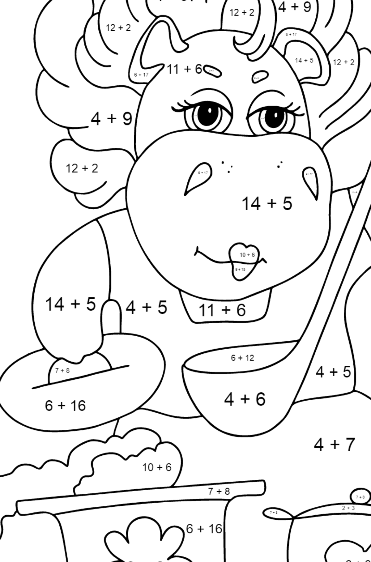 Coloring Page - A Hippo is Cooking a Tasty Lunch for Kids  - Color by Number Addition