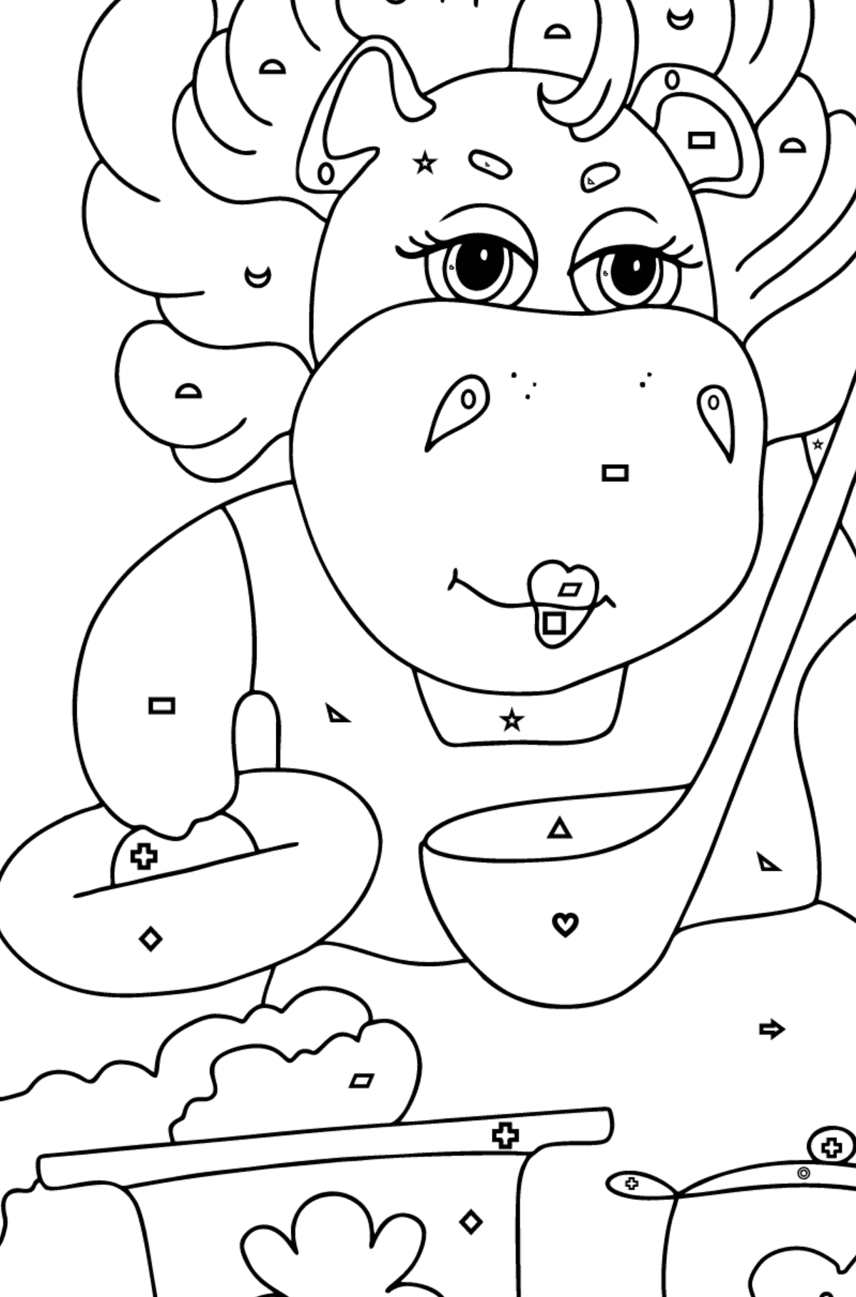 Coloring Page - A Hippo is Cooking a Tasty Lunch for Kids  - Color by Geometric Shapes
