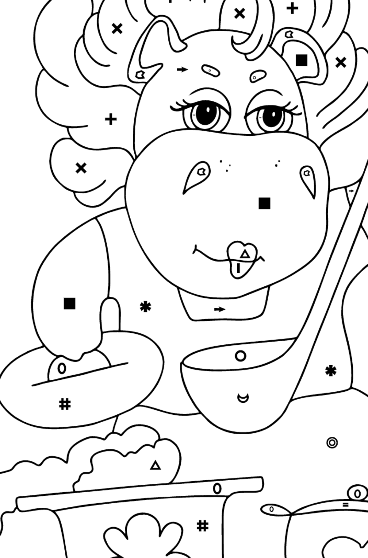 Coloring Page - A Hippo is Cooking a Tasty Lunch for Kids  - Color by Symbols and Geometric Shapes