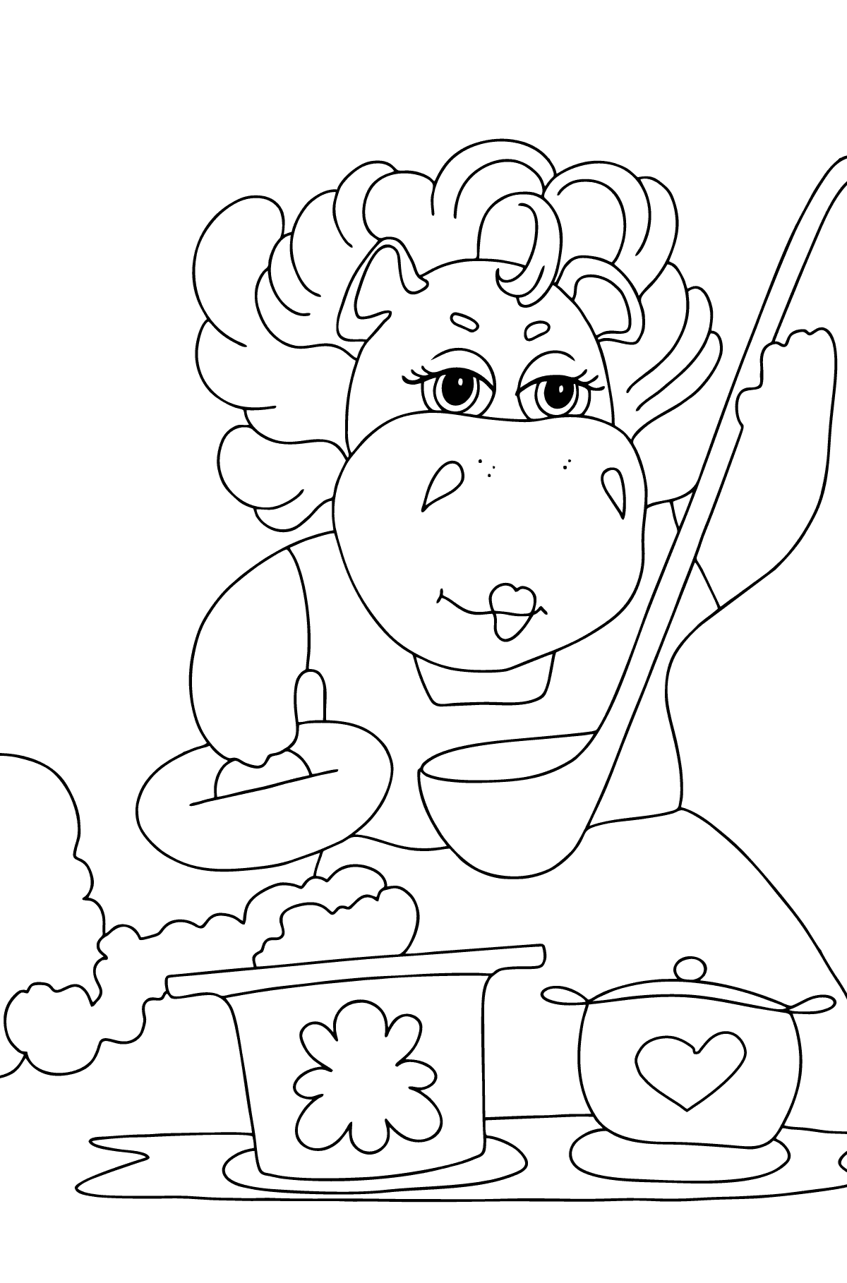 Coloring Page - A Hippo is Cooking a Tasty Lunch for Children