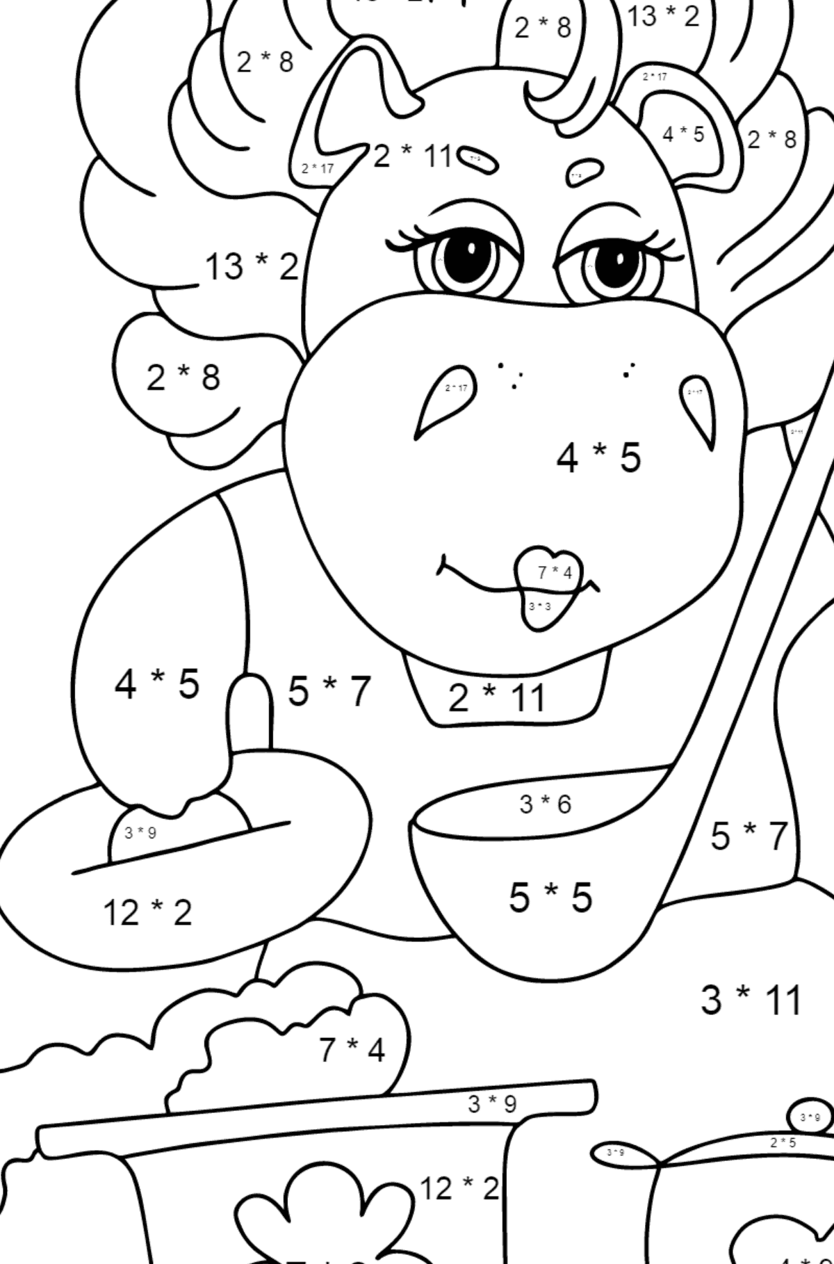 Coloring Page - A Hippo is Cooking a Tasty Lunch for Kids  - Color by Number Multiplication