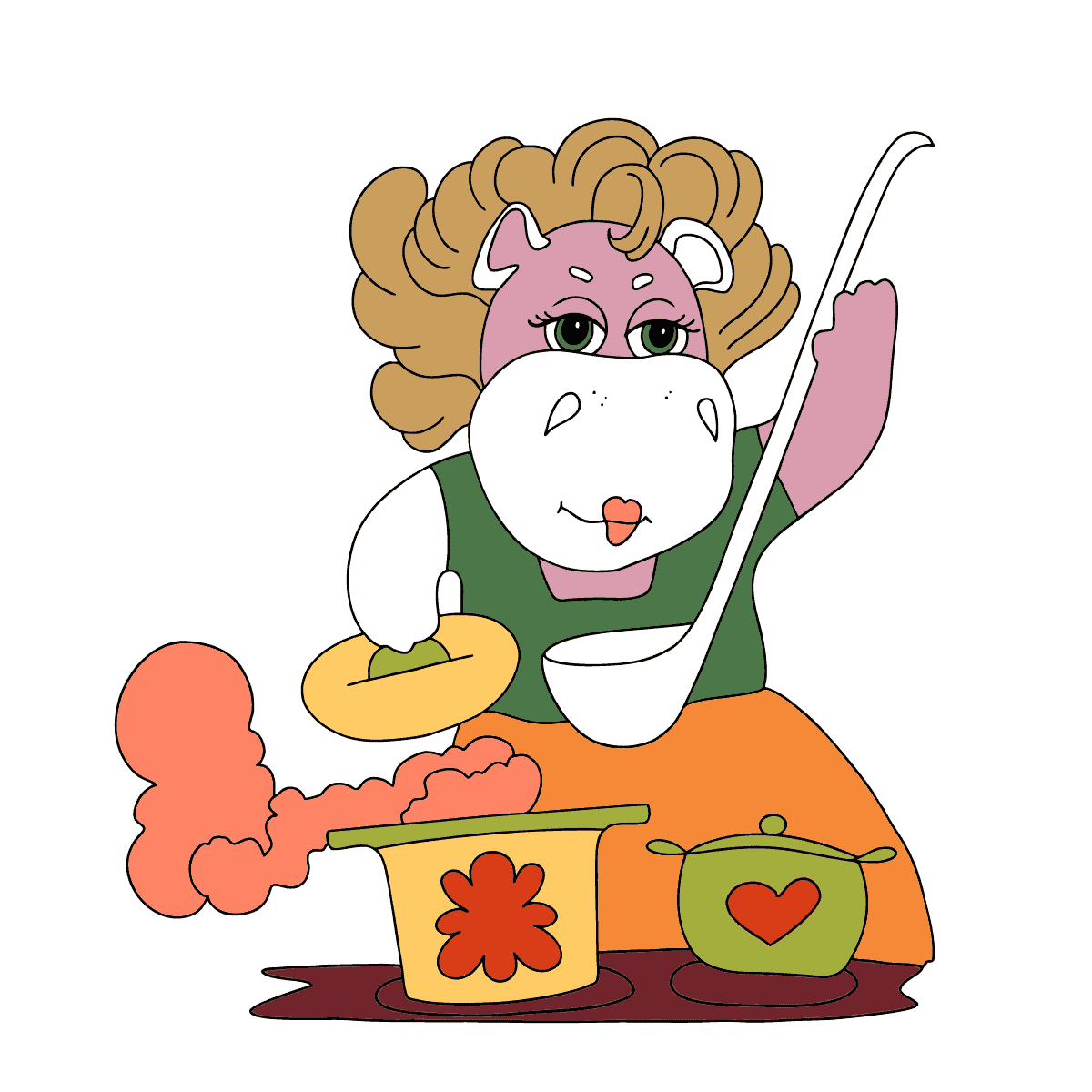 Coloring Page - A Hippo is Cooking Tasty Soup