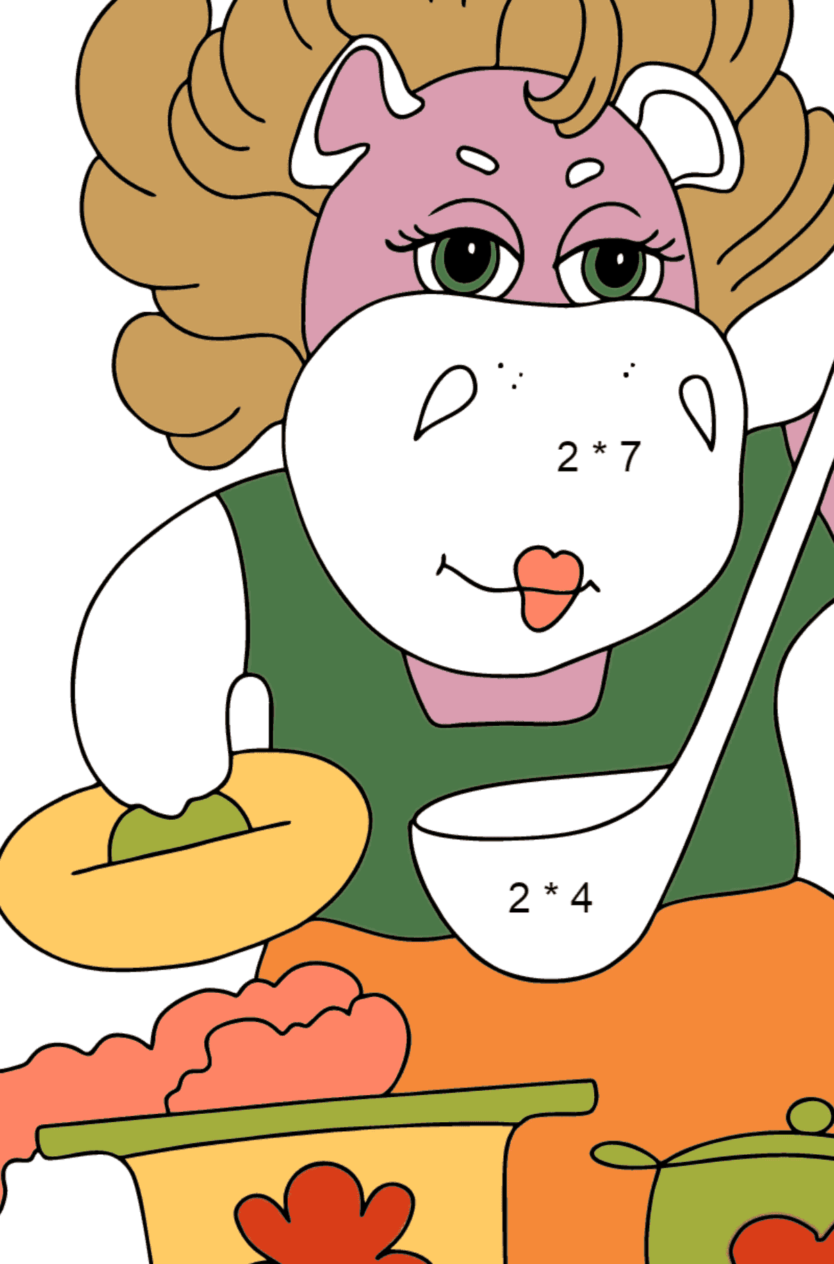 Coloring Page - A Hippo is Cooking Tasty Soup for Children  - Color by Number Multiplication