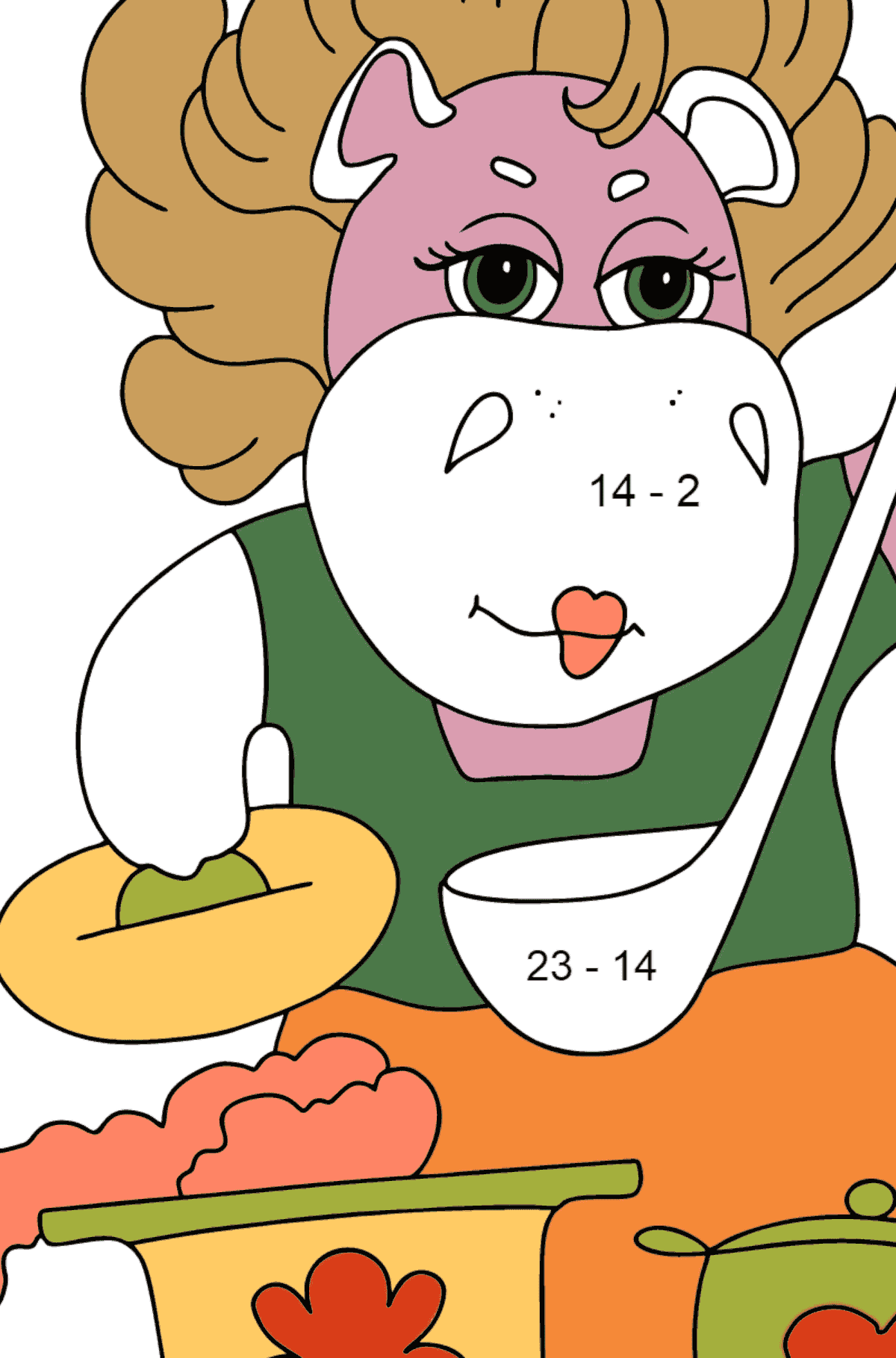 Coloring Page - A Hippo is Cooking Tasty Soup for Children  - Color by Number Substraction