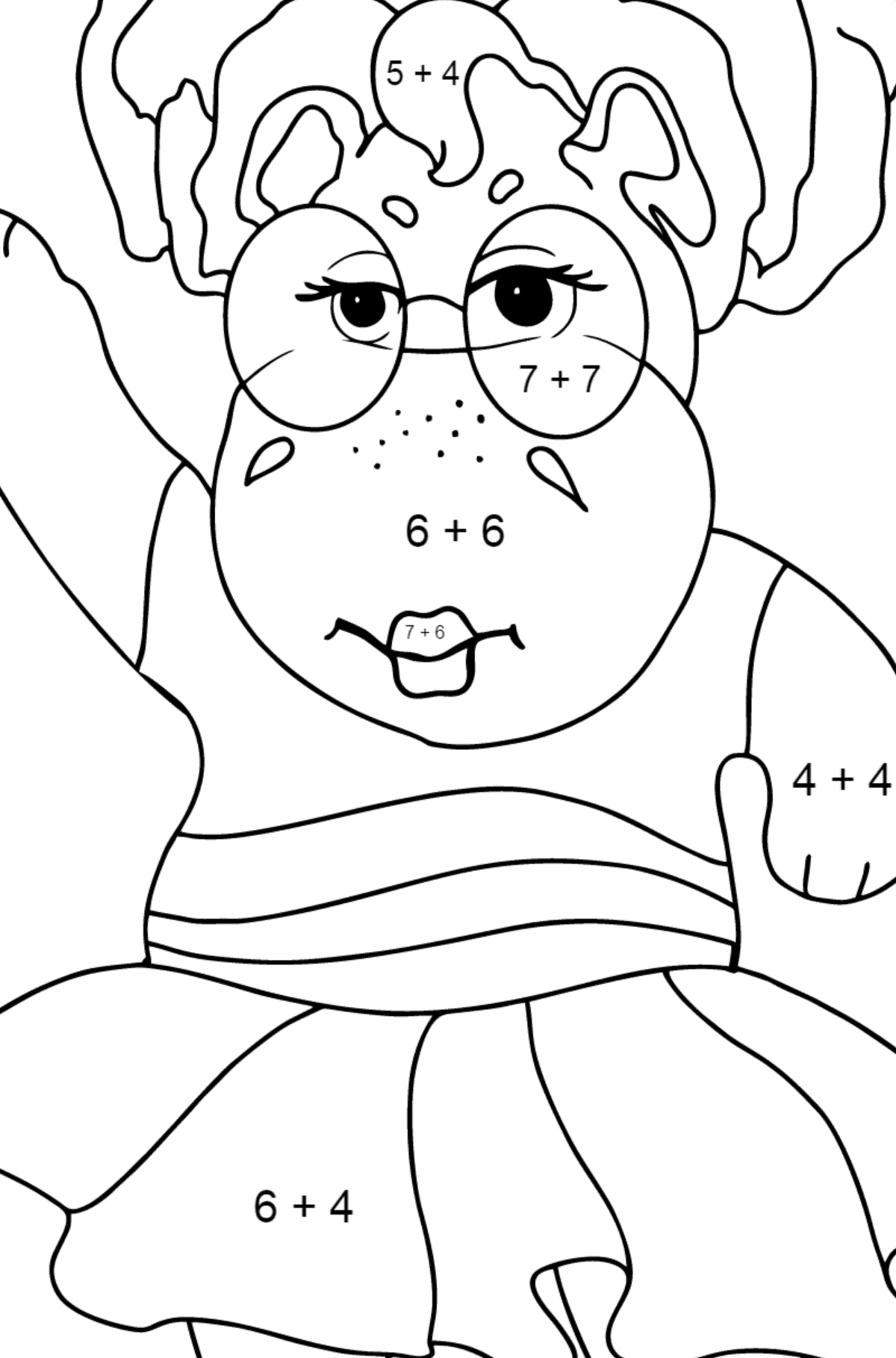 Coloring Page - A Hippo is Dancing in Sunglasses for Kids  - Color by Number Addition
