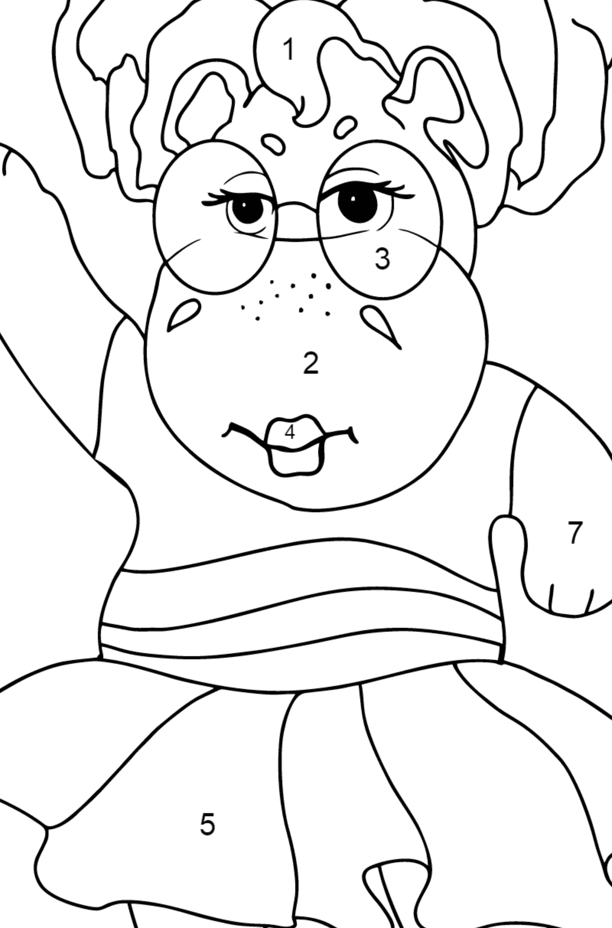 Coloring Page - A Hippo is Dancing in Sunglasses for Kids  - Color by Number