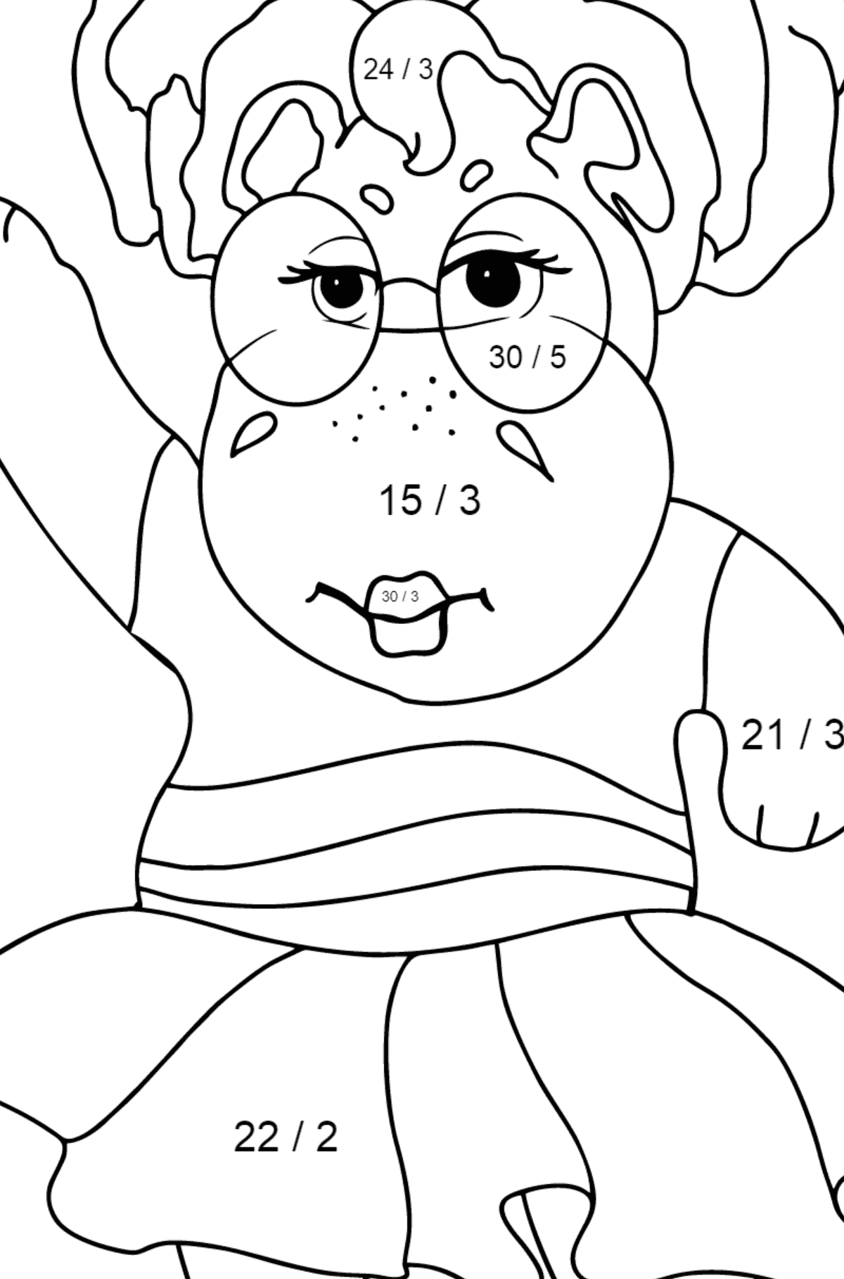 Coloring Page - A Hippo is Dancing in Sunglasses for Children  - Color by Number Division