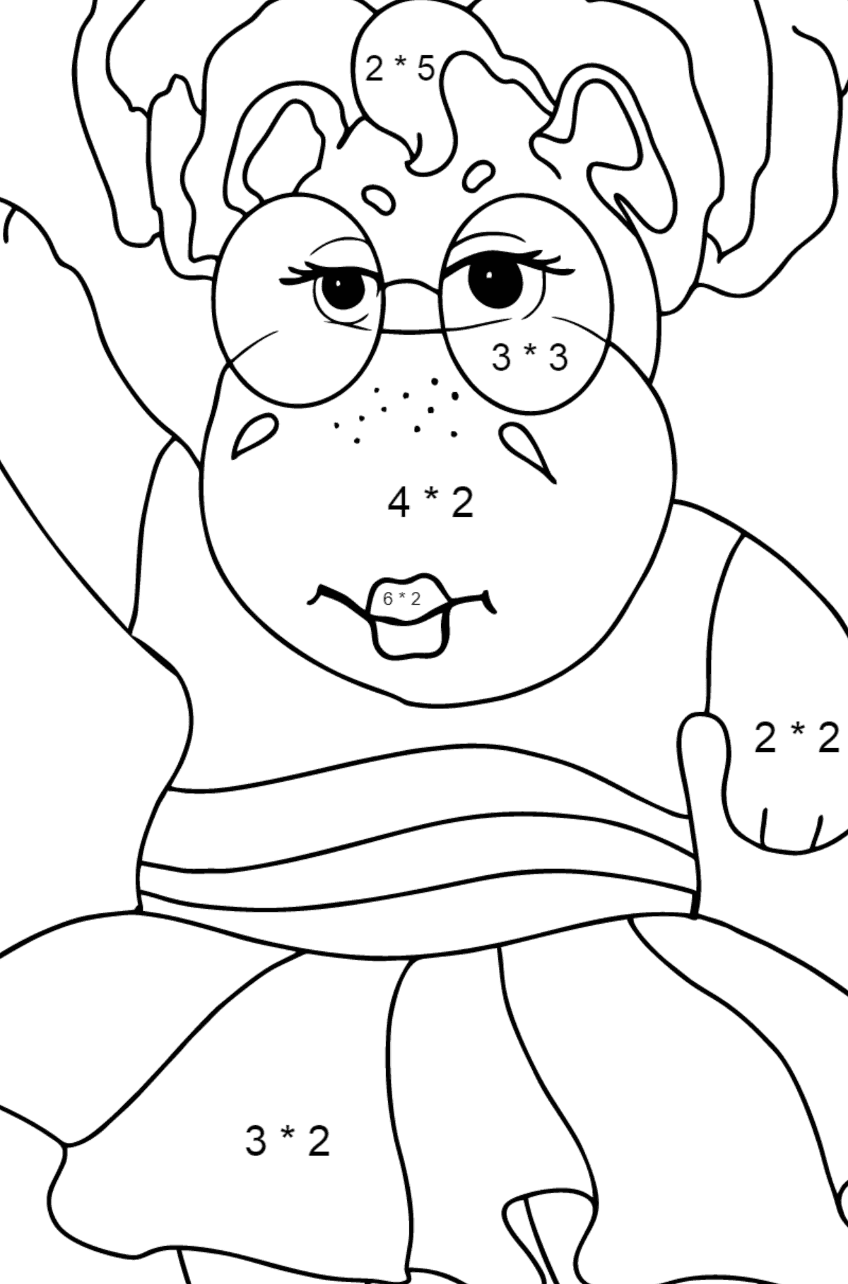 Coloring Page - A Hippo is Dancing in Sunglasses for Kids  - Color by Number Multiplication