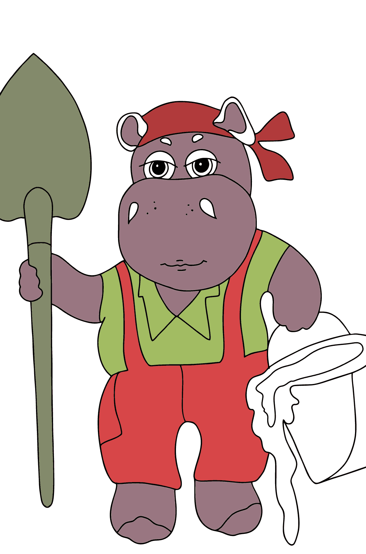 Coloring Page - A Hippo is Digging in the Ground for Kids