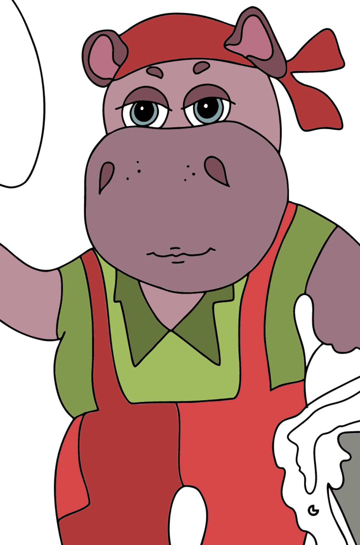 Coloring Page - A Hippo is Digging in the Ground in a Garden for Kids  - Color by Symbols and Geometric Shapes
