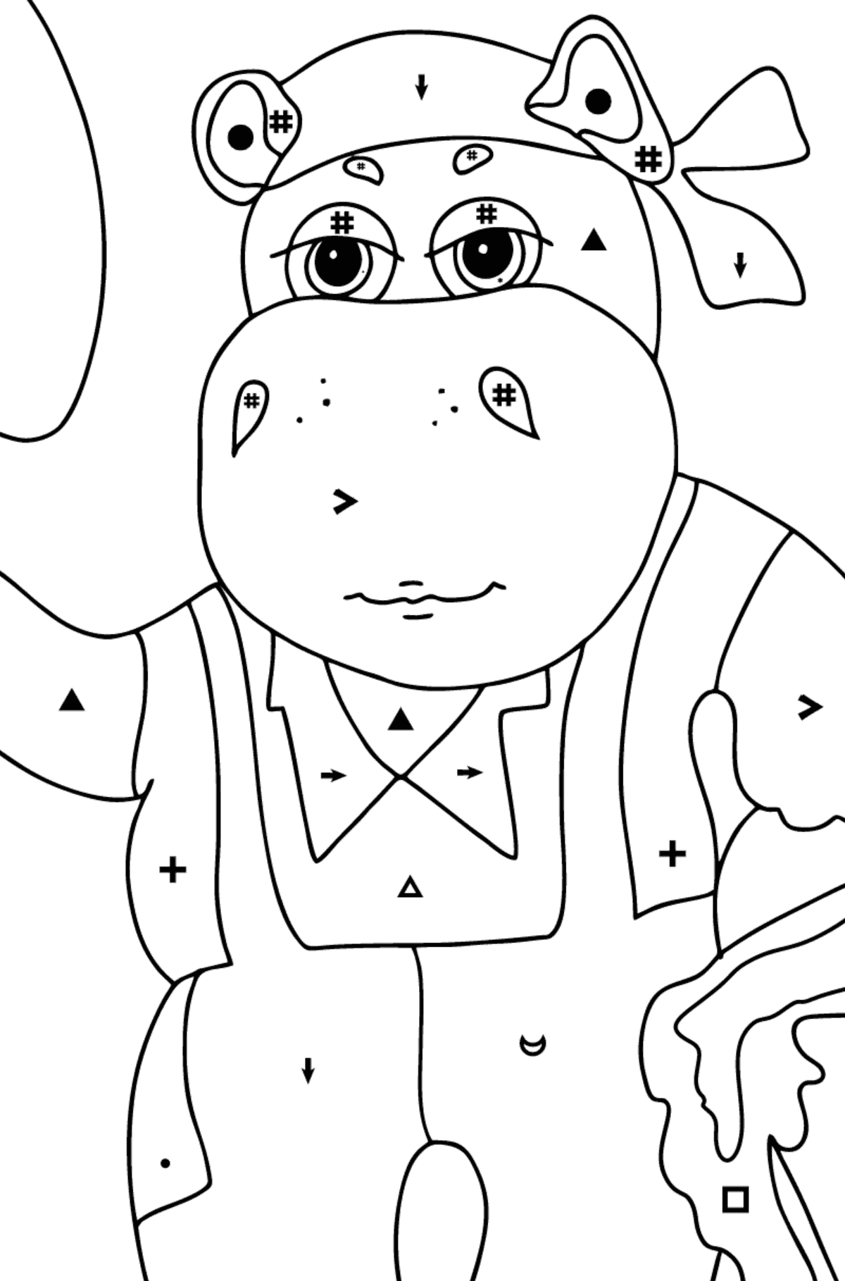 Coloring Page - A Hippo is Digging in the Ground in a Garden for Kids  - Color by Special Symbols