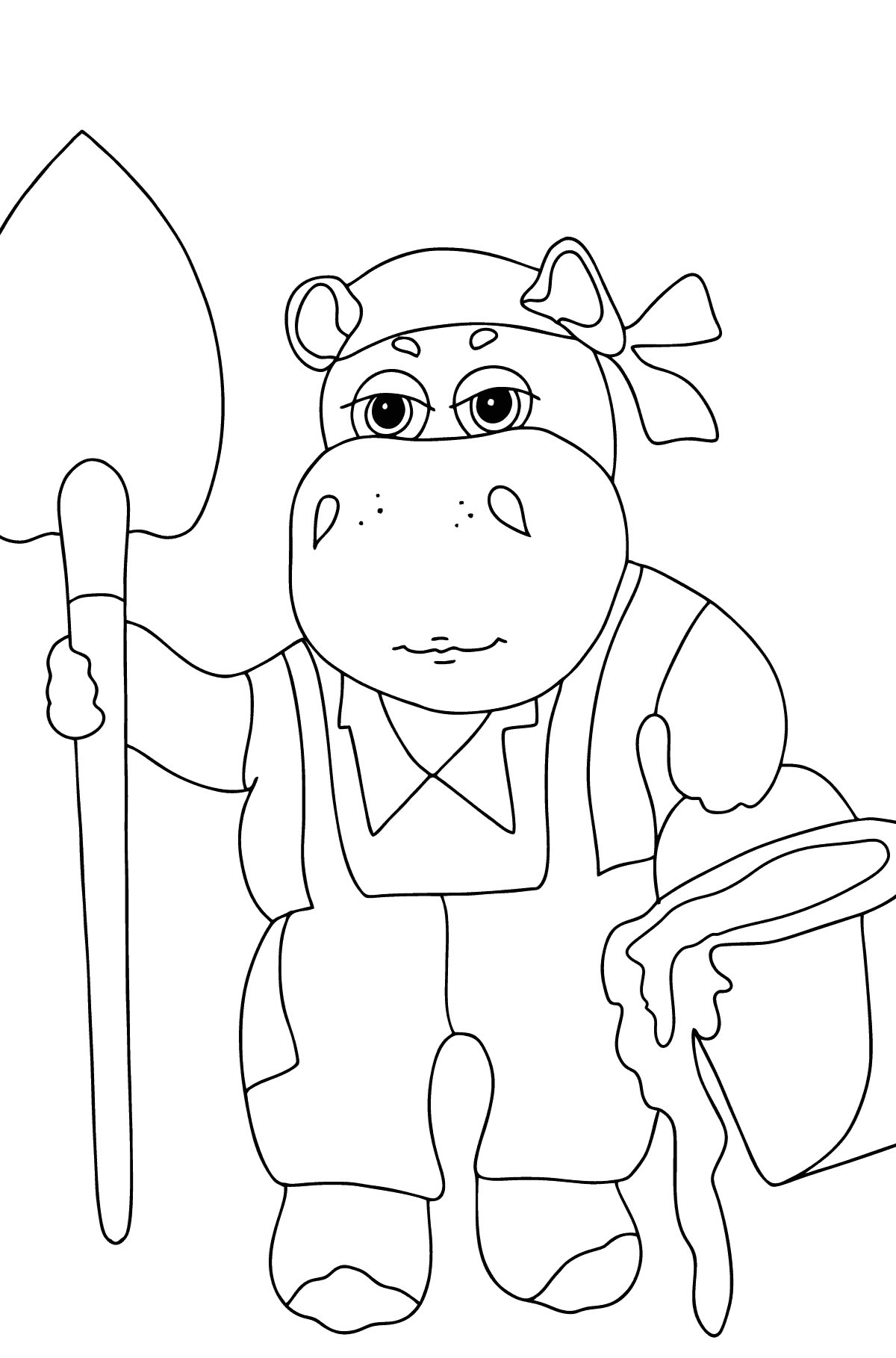 Coloring Page - A Hippo is Digging in the Ground in a Garden for Children