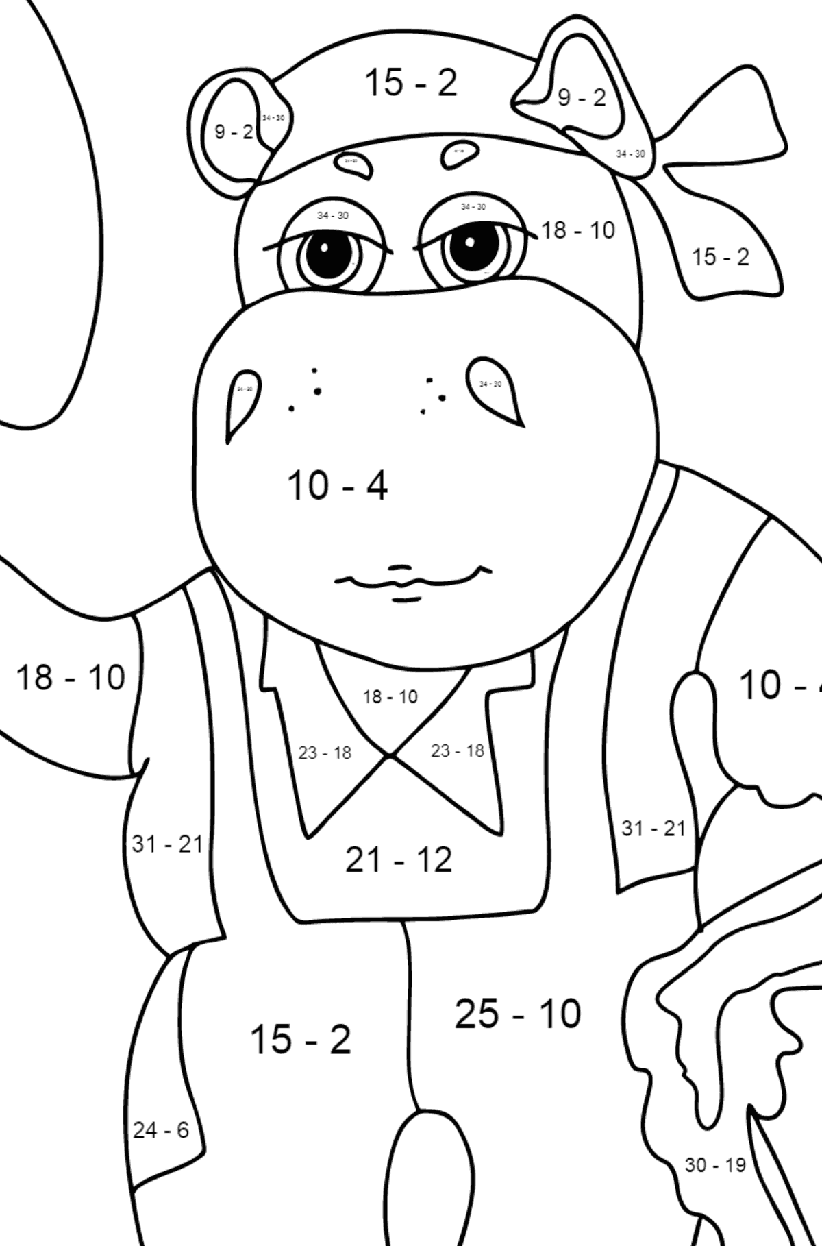Coloring Page - A Hippo is Digging in the Ground in a Garden for Kids  - Color by Number Substraction