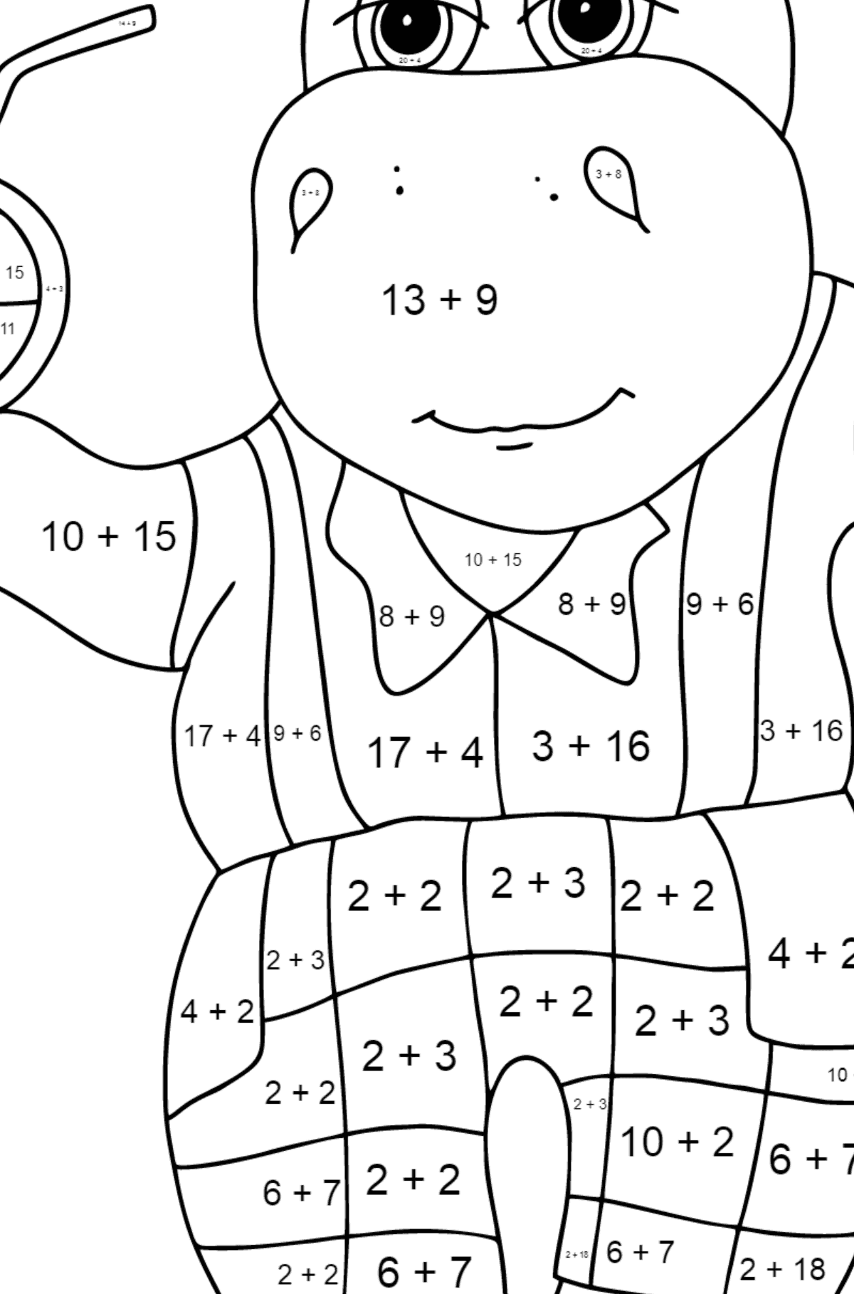 A Hippo is Drinking Orange Juice on a Beach for Kids - Math Coloring By Addition